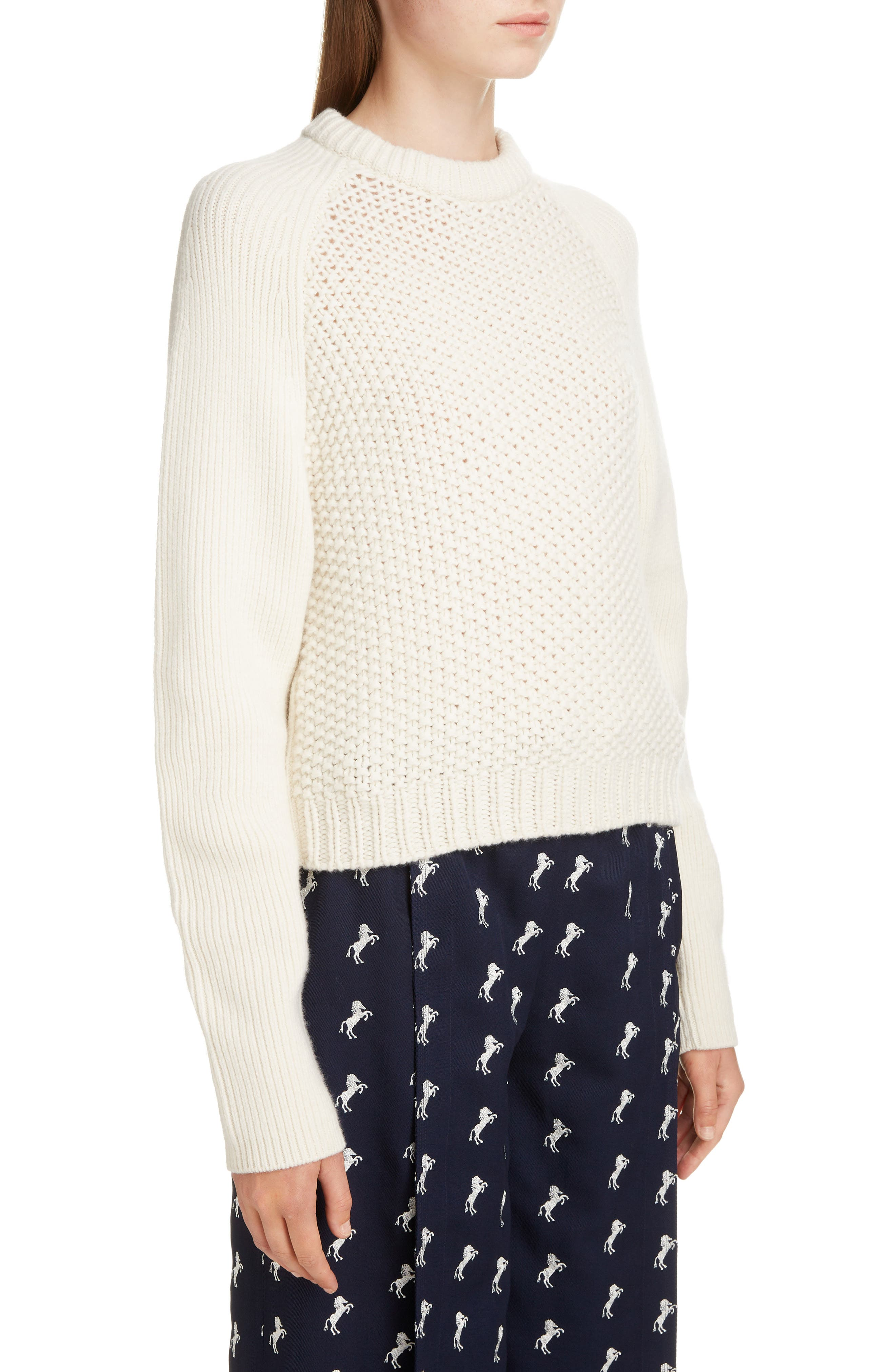 Mixed Knit Wool & Cashmere Blend Sweater,                             Alternate thumbnail 4, color,                             PRISTINE WHITE