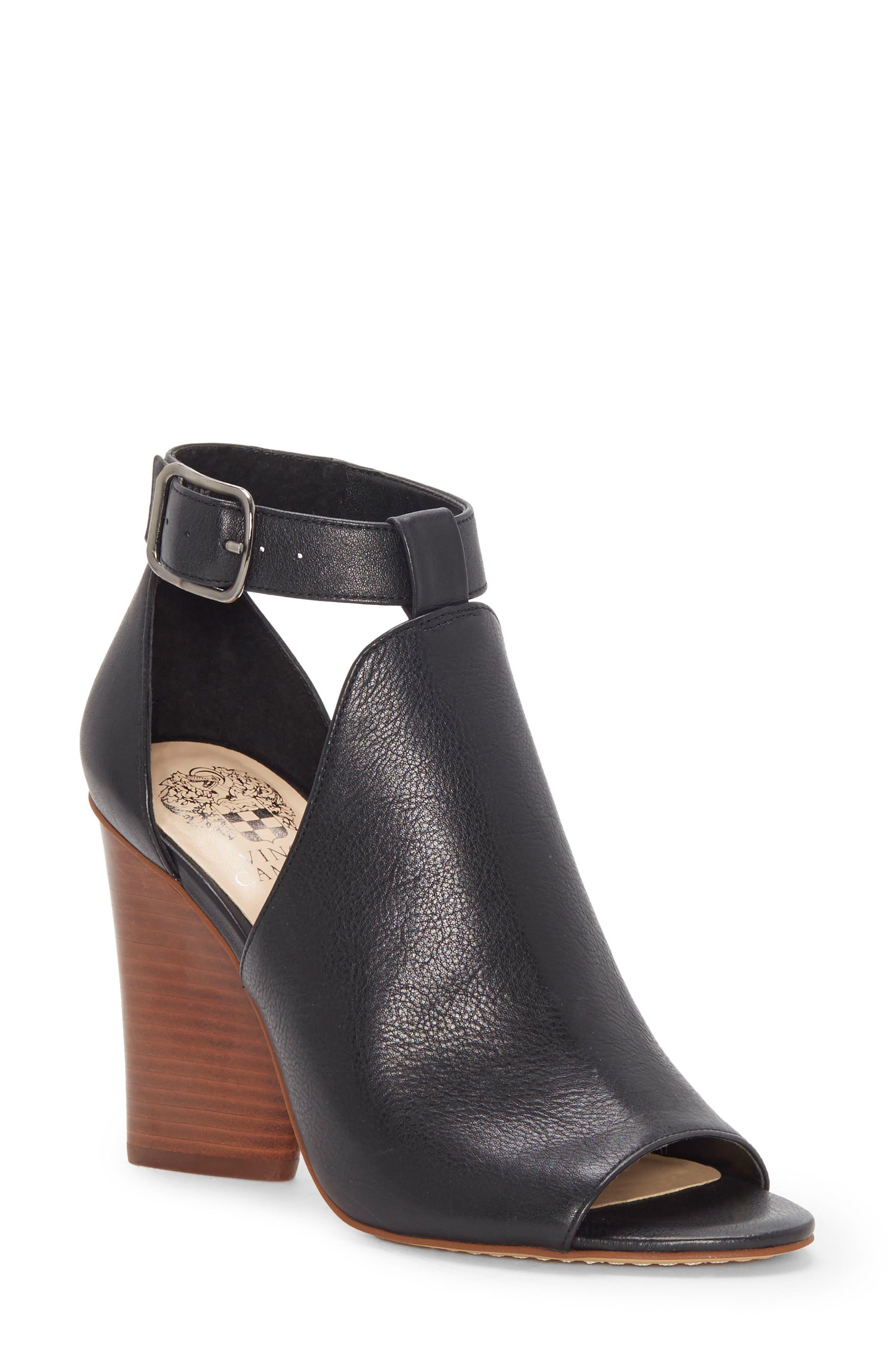 Adaren Peep Toe Sandal,                         Main,                         color, BLACK LEATHER