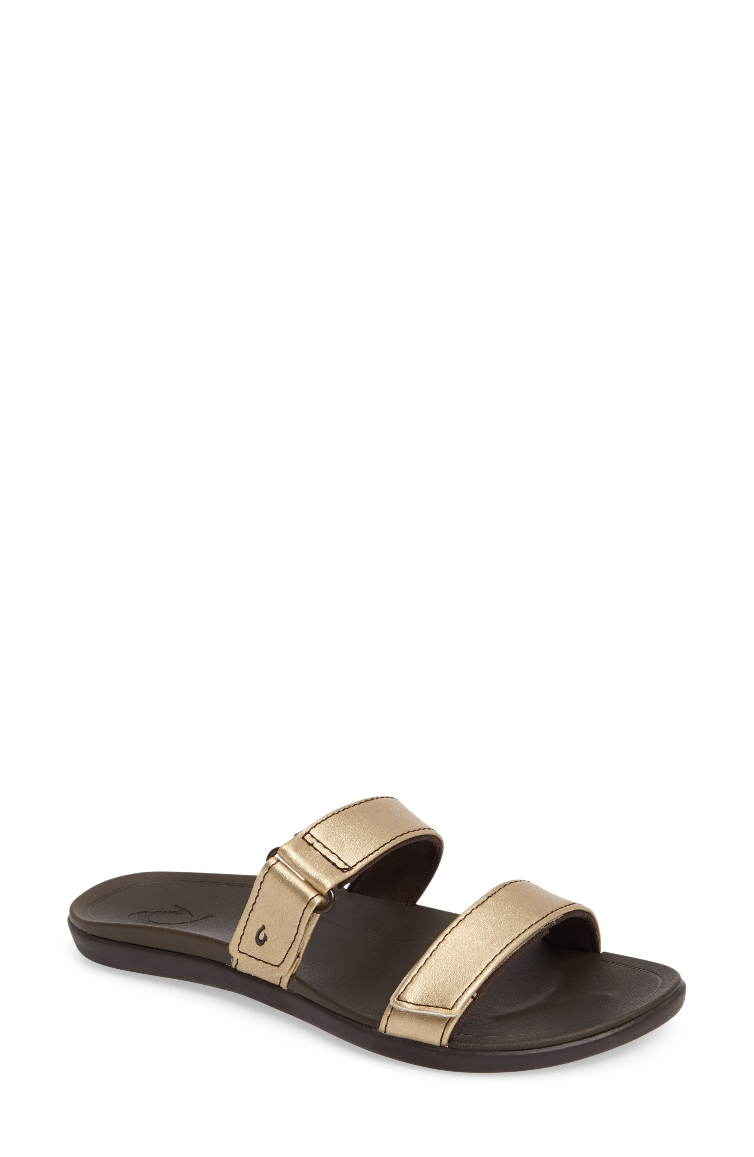 Kipuka Slide Sandal,                         Main,                         color, BUBBLY/ JAVA FAUX LEATHER