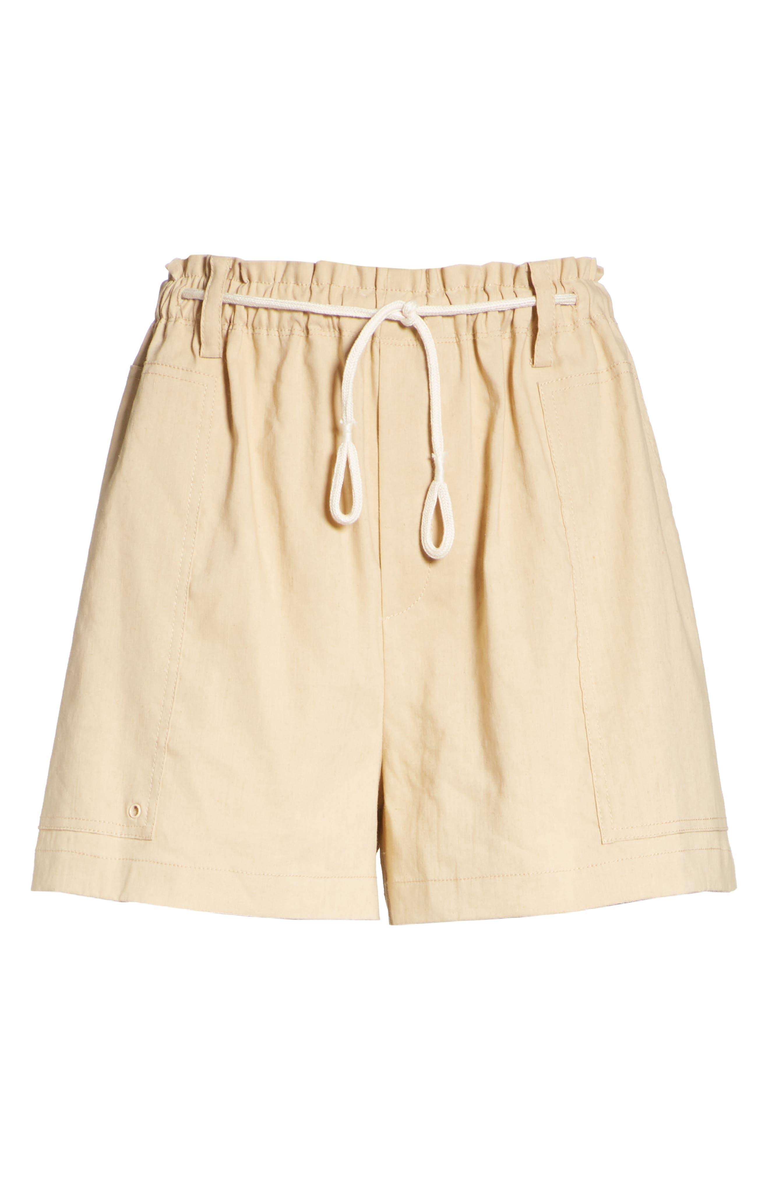 Rope Tie Linen Blend Shorts,                             Alternate thumbnail 17, color,