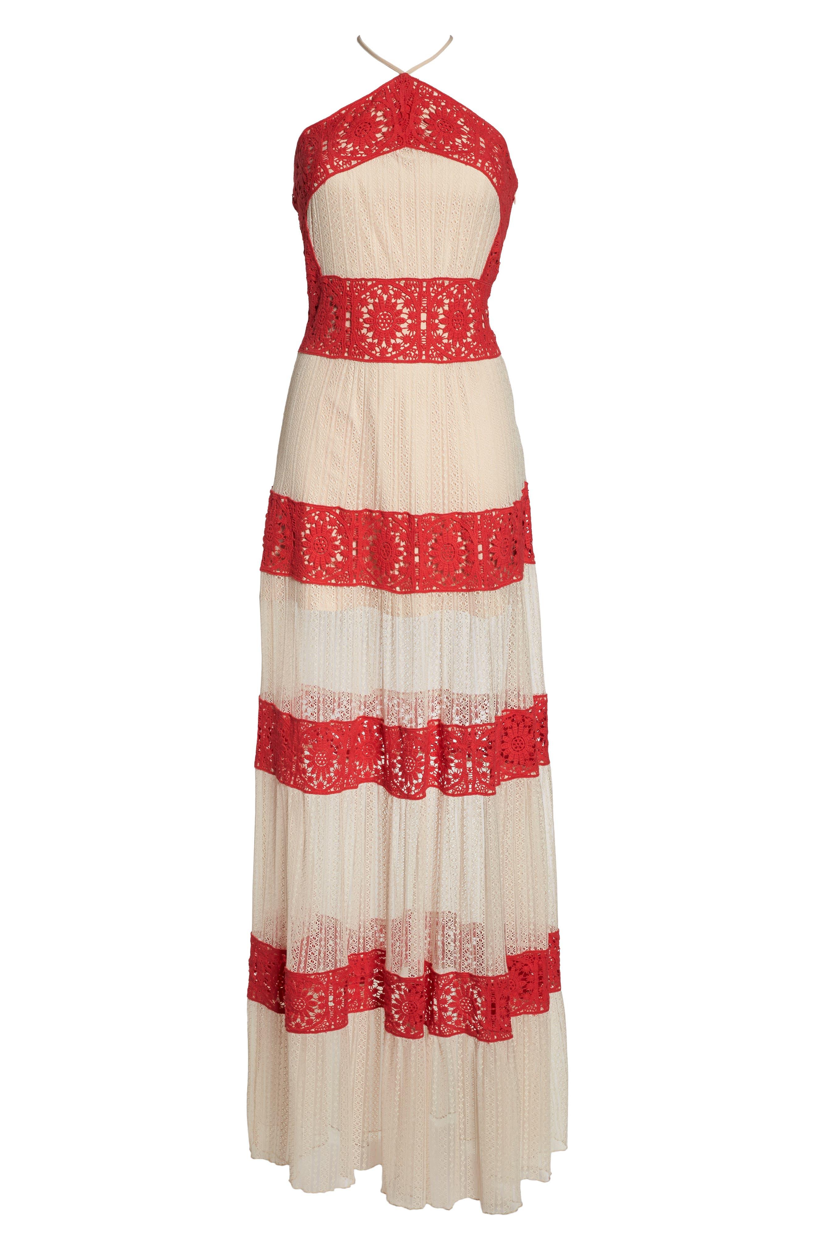 Ophelia Two-Tone Lace Maxi Dress,                             Alternate thumbnail 7, color,                             250