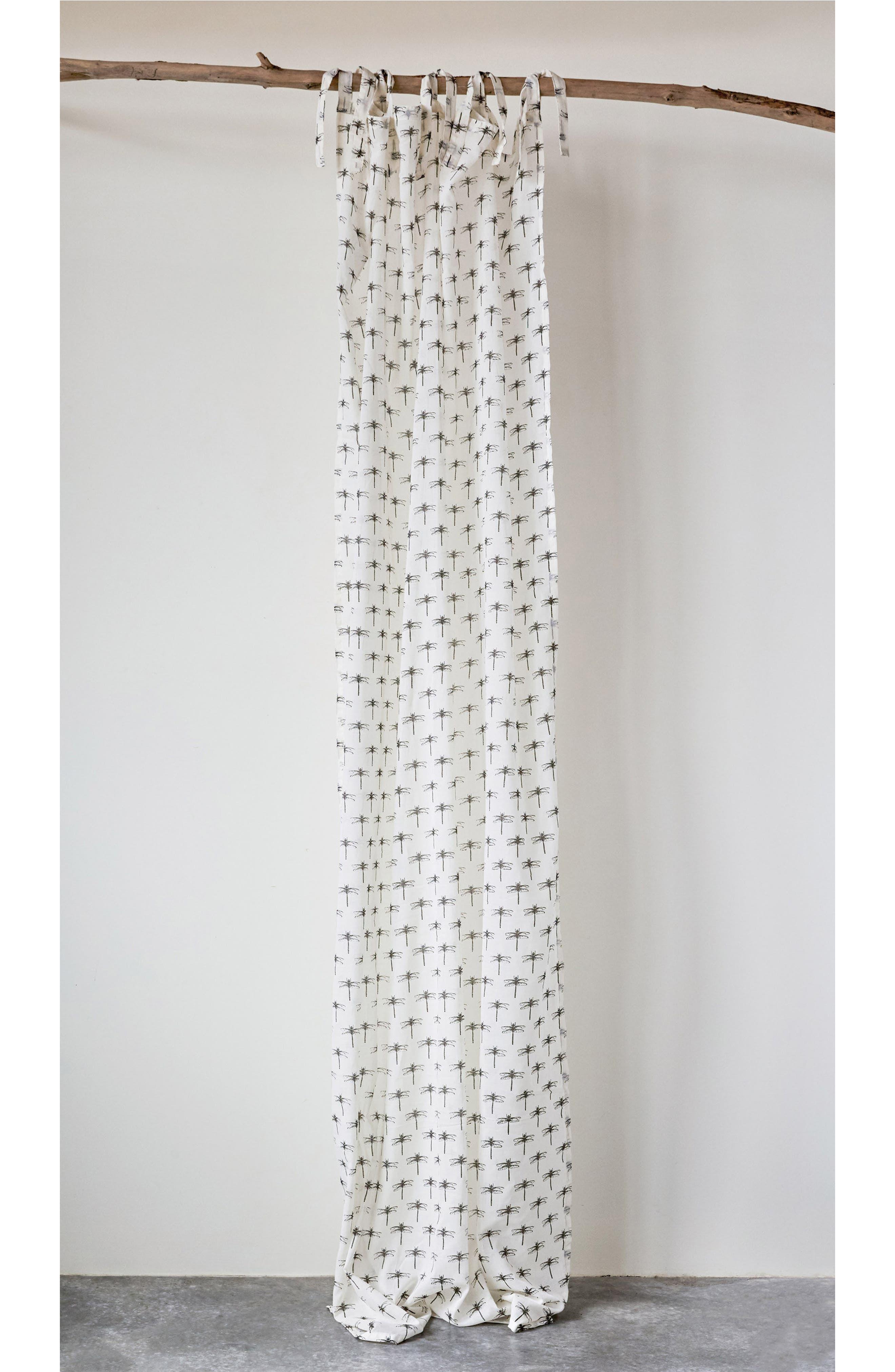 CREATIVE CO-OP Tie Top Cotton Voile Window Panel, Main, color, 100