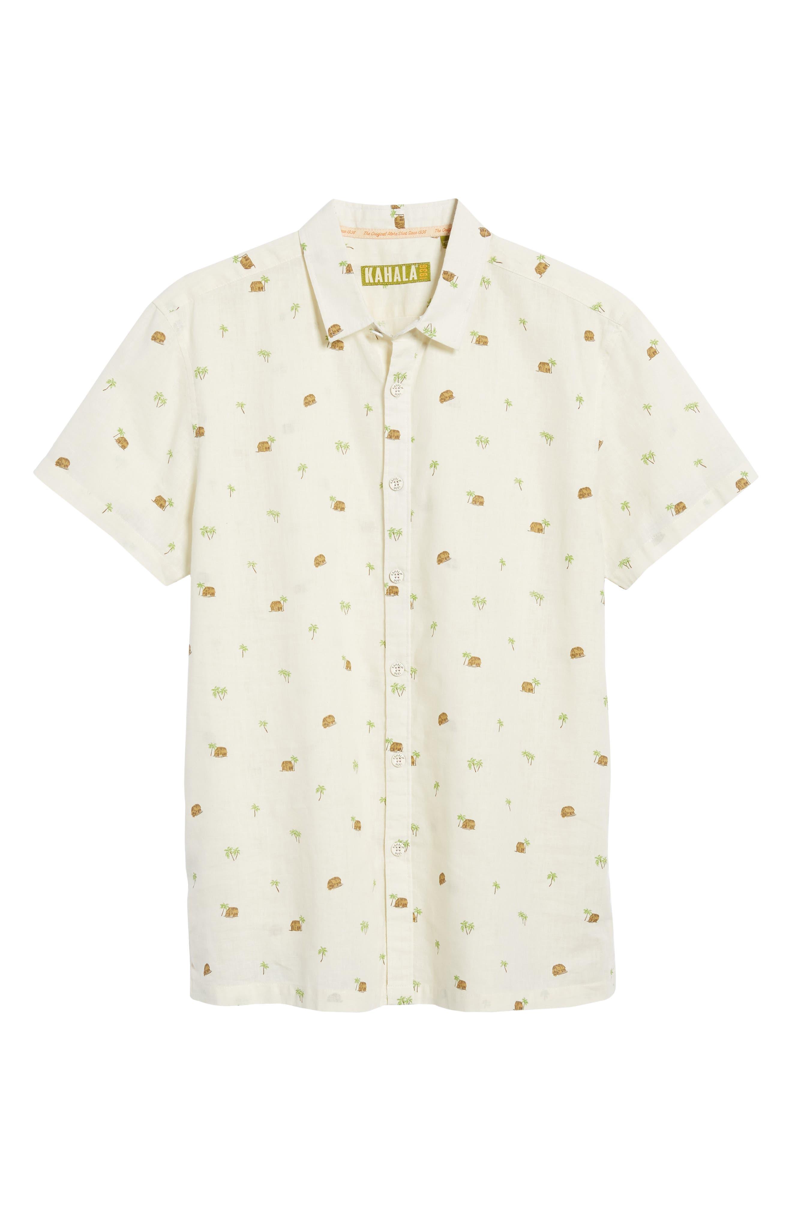 Hale Niu Trim Fit Linen Blend Camp Shirt,                             Alternate thumbnail 6, color,                             102