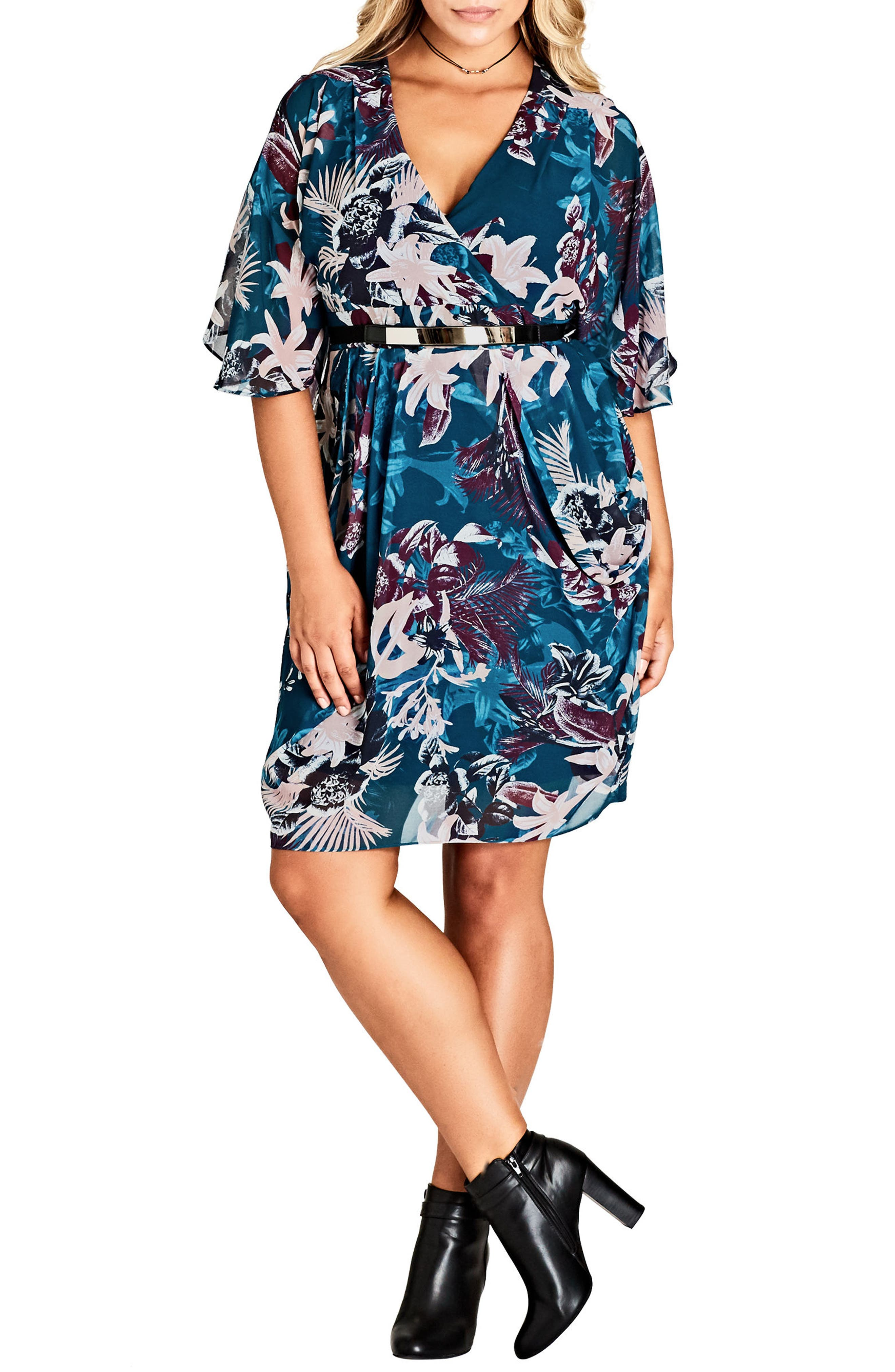 Envelop Me Chiffon Dress,                             Main thumbnail 1, color,                             JUNGLE FLORAL