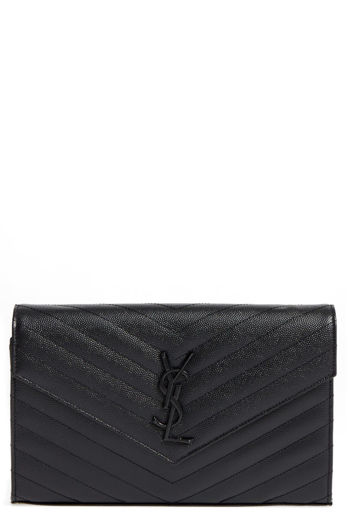 Monogram Quilted Leather Wallet on a Chain,                             Main thumbnail 1, color,                             NERO
