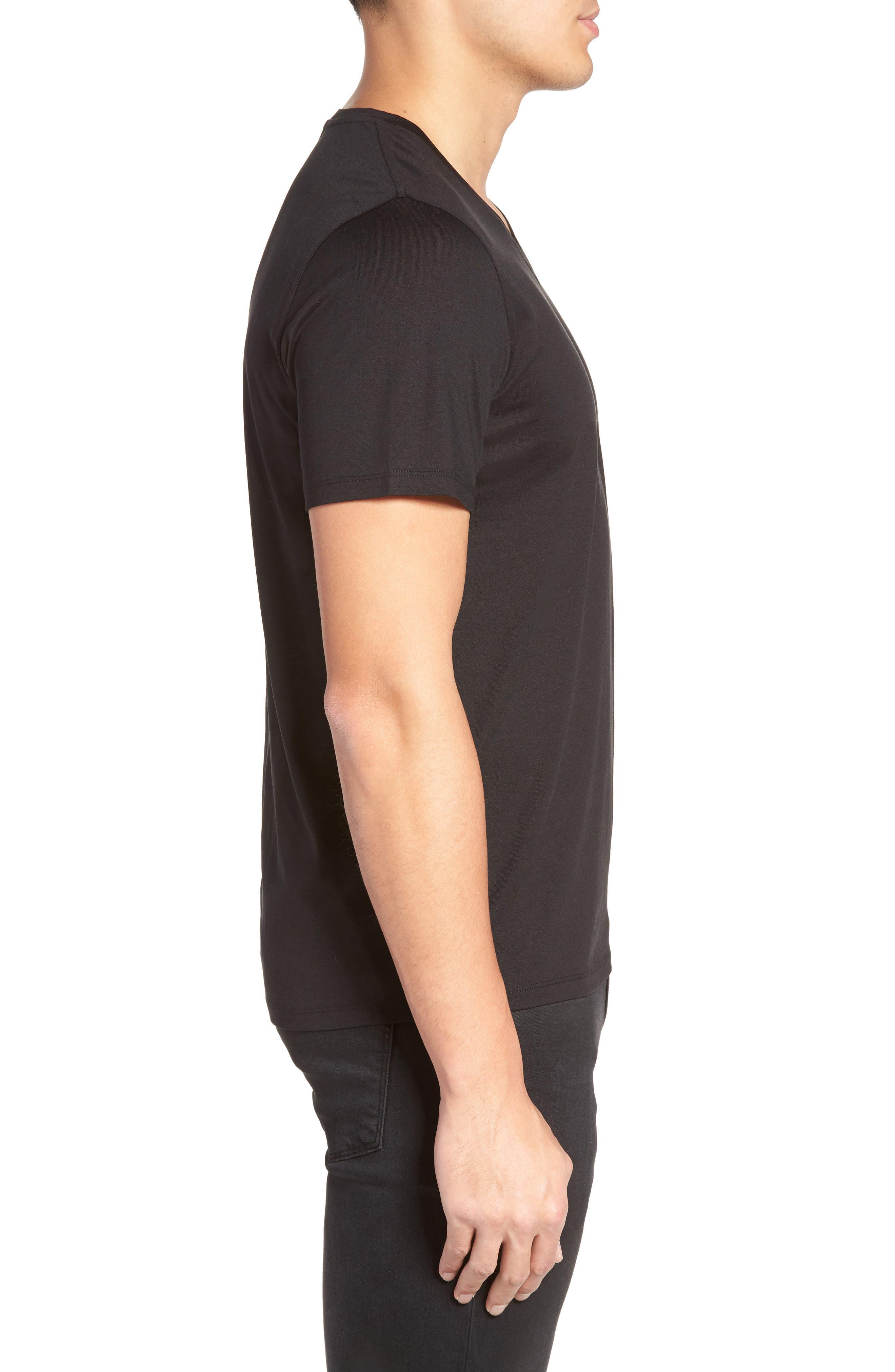 Silk & Cotton V-Neck T-Shirt,                             Alternate thumbnail 3, color,                             001