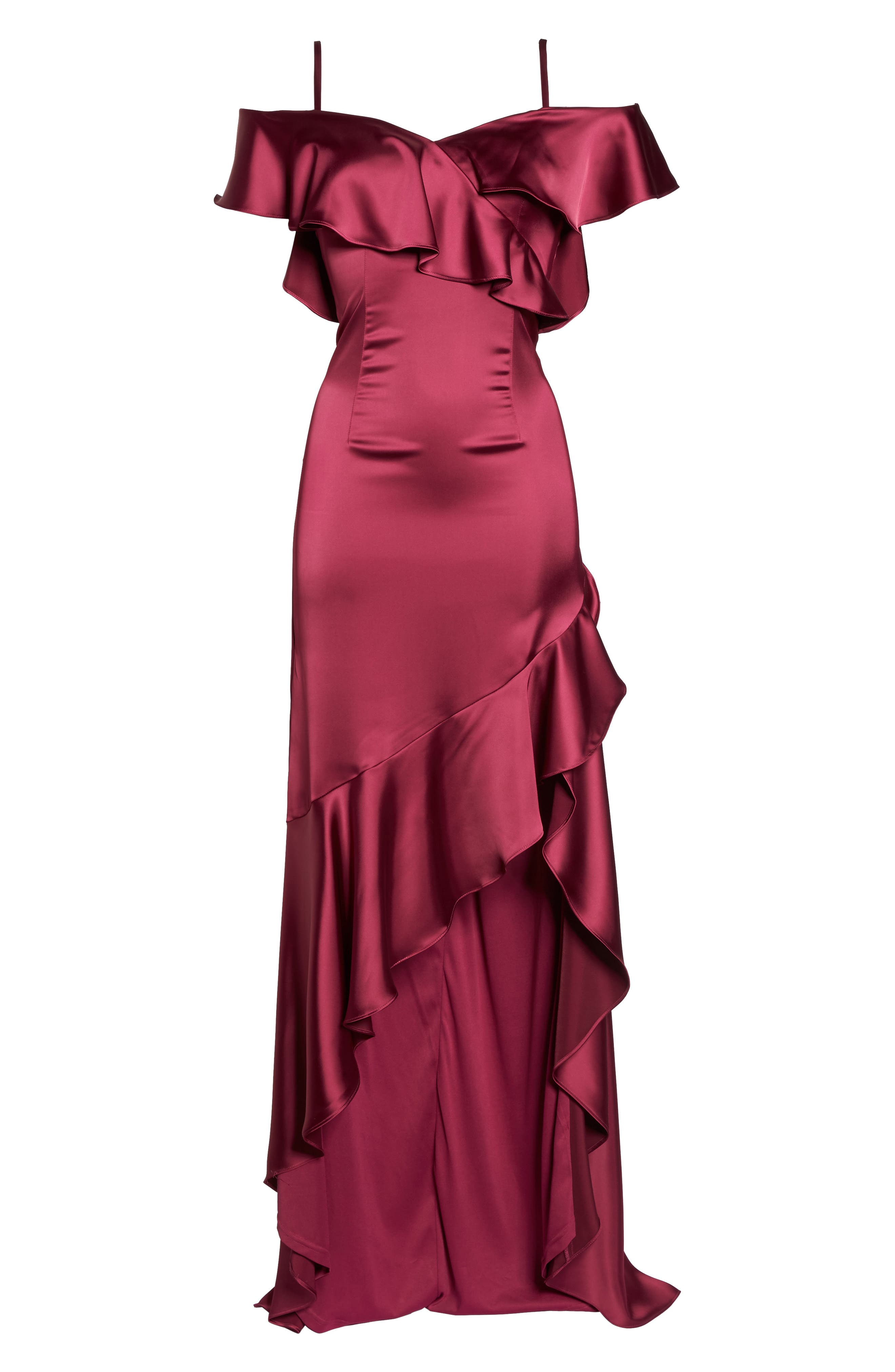 Ruffled Satin Gown,                             Alternate thumbnail 6, color,