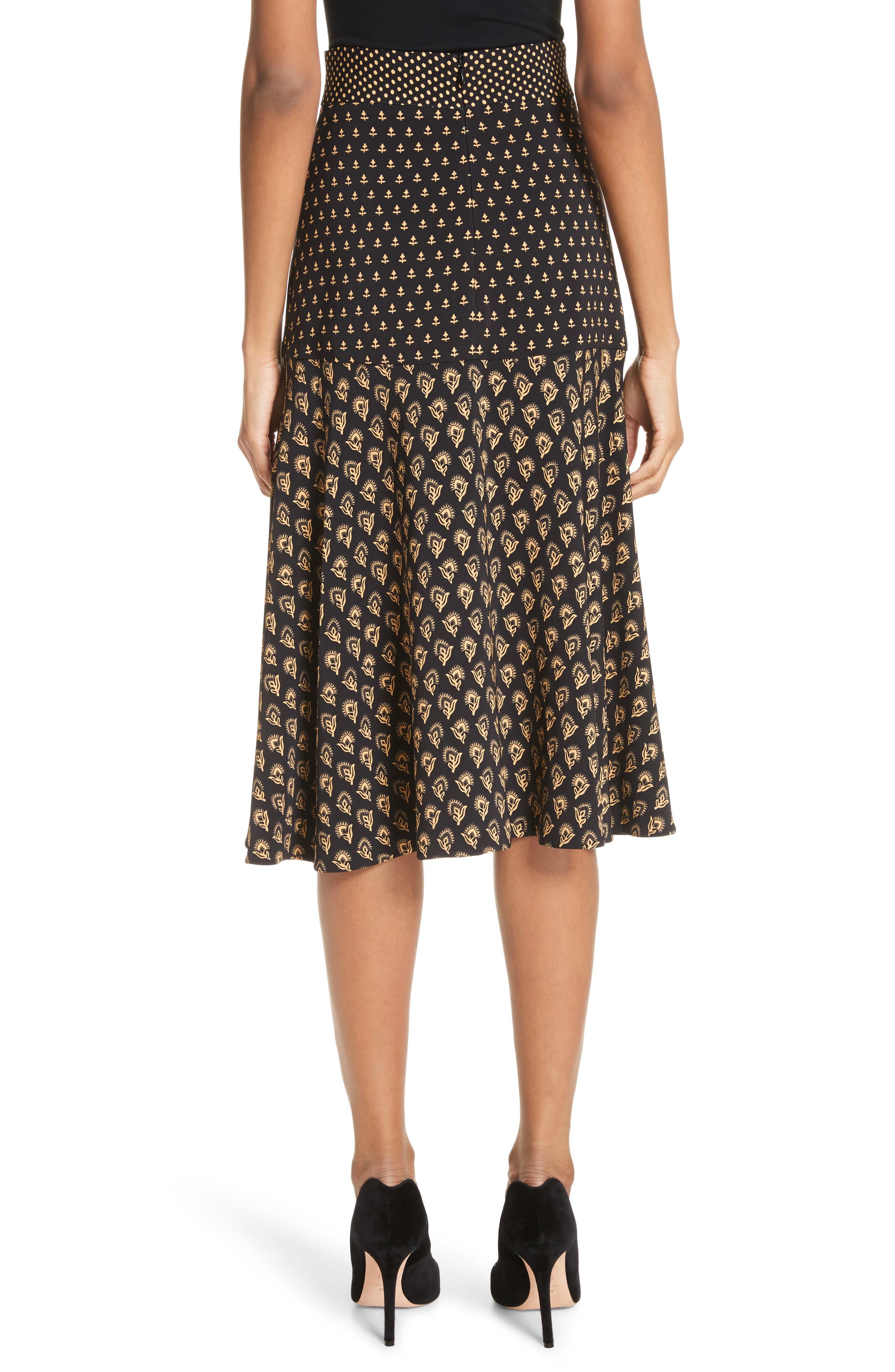 Mixed Print Crepe Midi Skirt,                             Alternate thumbnail 2, color,                             BLACK/ TAN FLOWER