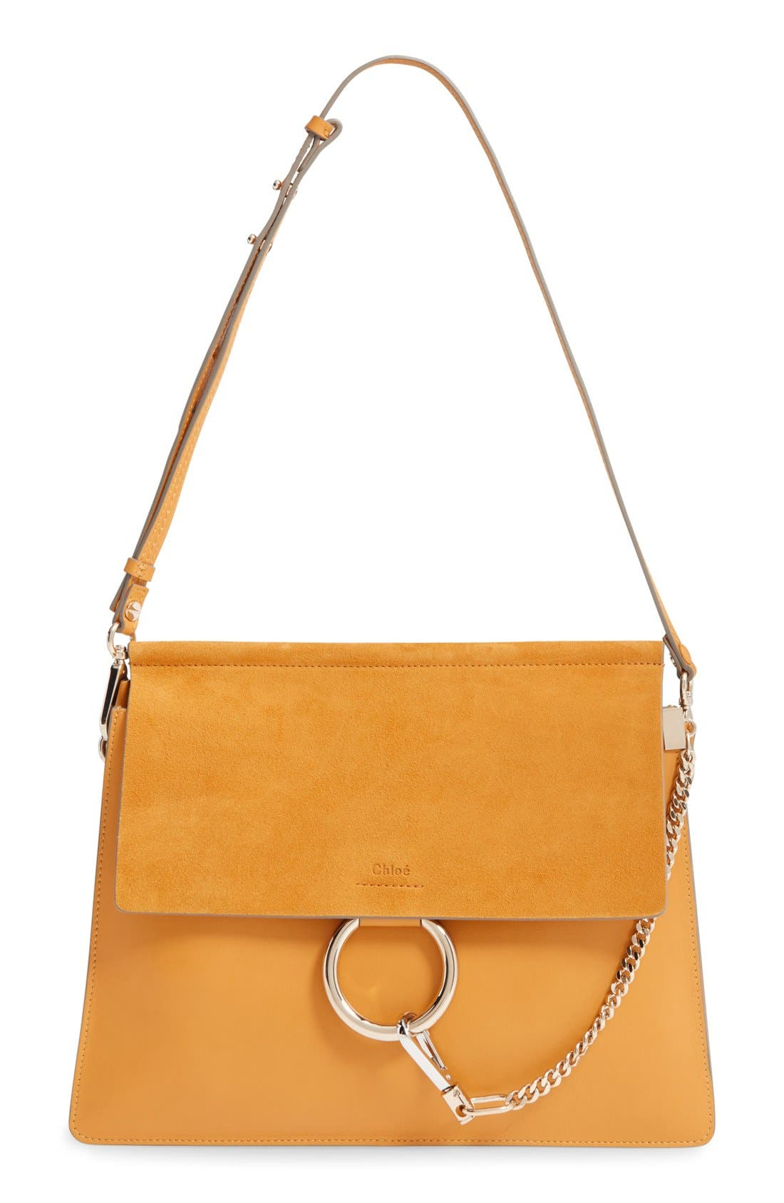 'Faye' Leather & Suede Shoulder Bag,                             Main thumbnail 1, color,                             CLASSIC TOBACCO