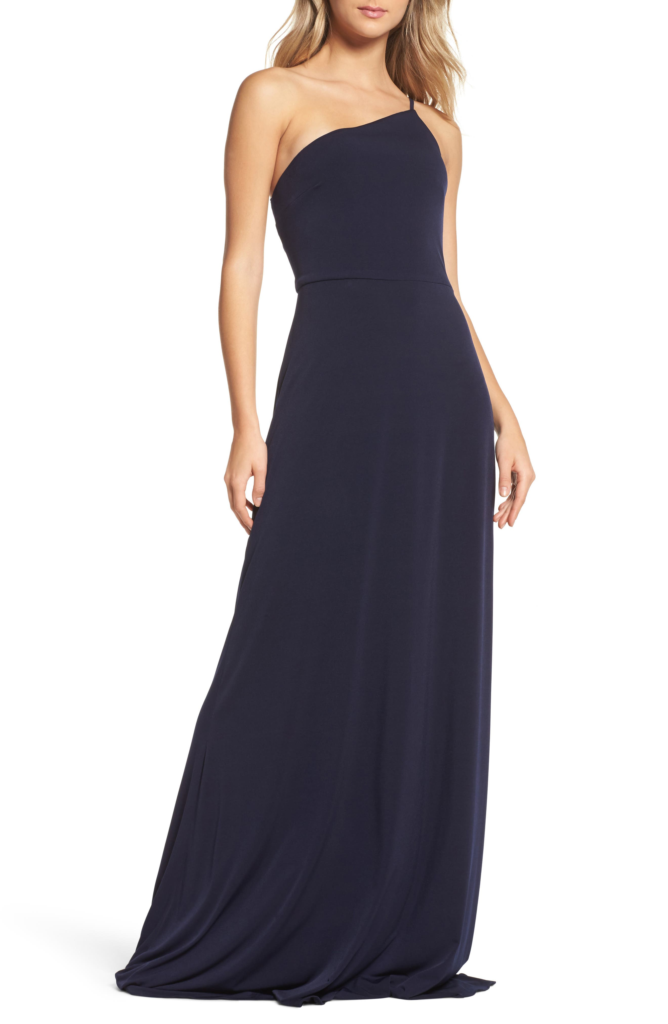 Jersey One-Shoulder Gown,                             Main thumbnail 1, color,                             410
