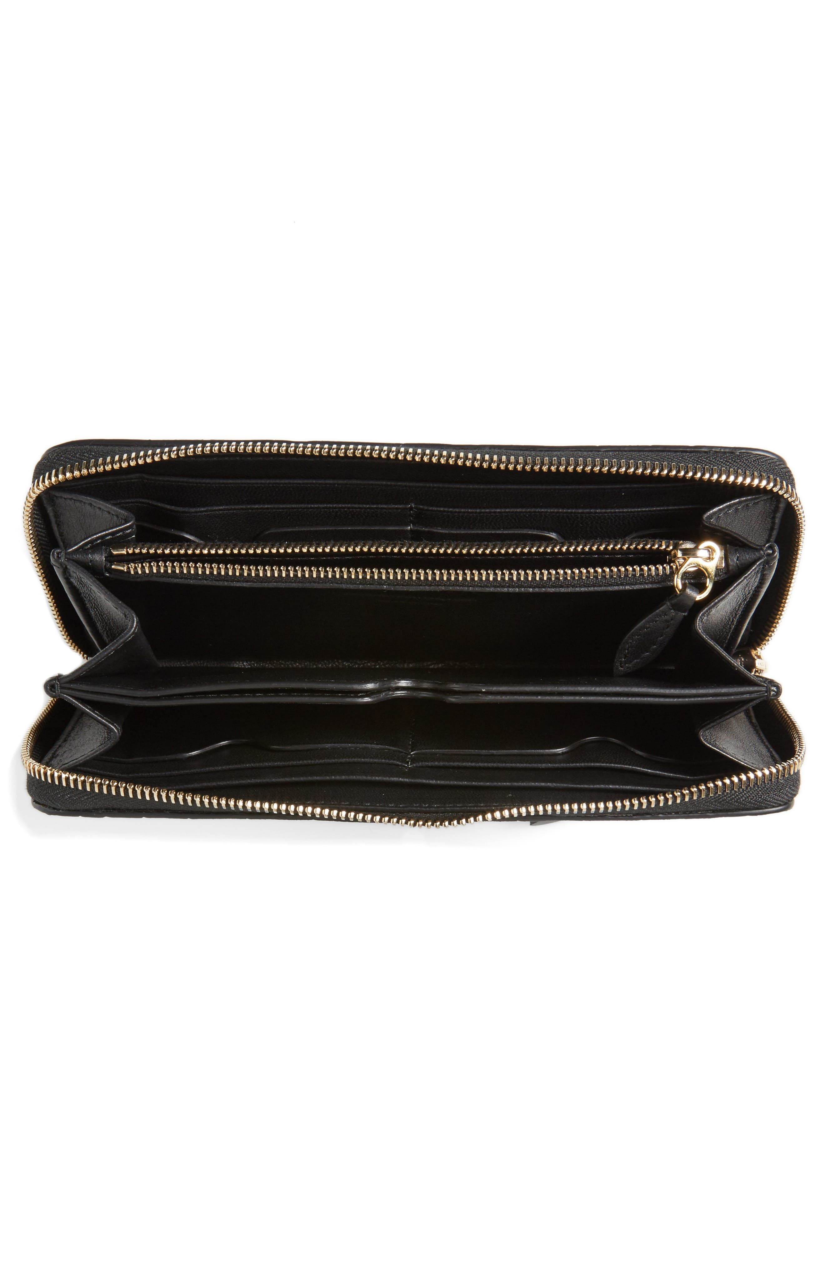 Croc-Embossed Leather Zip Around Wallet,                             Alternate thumbnail 2, color,                             BLACK