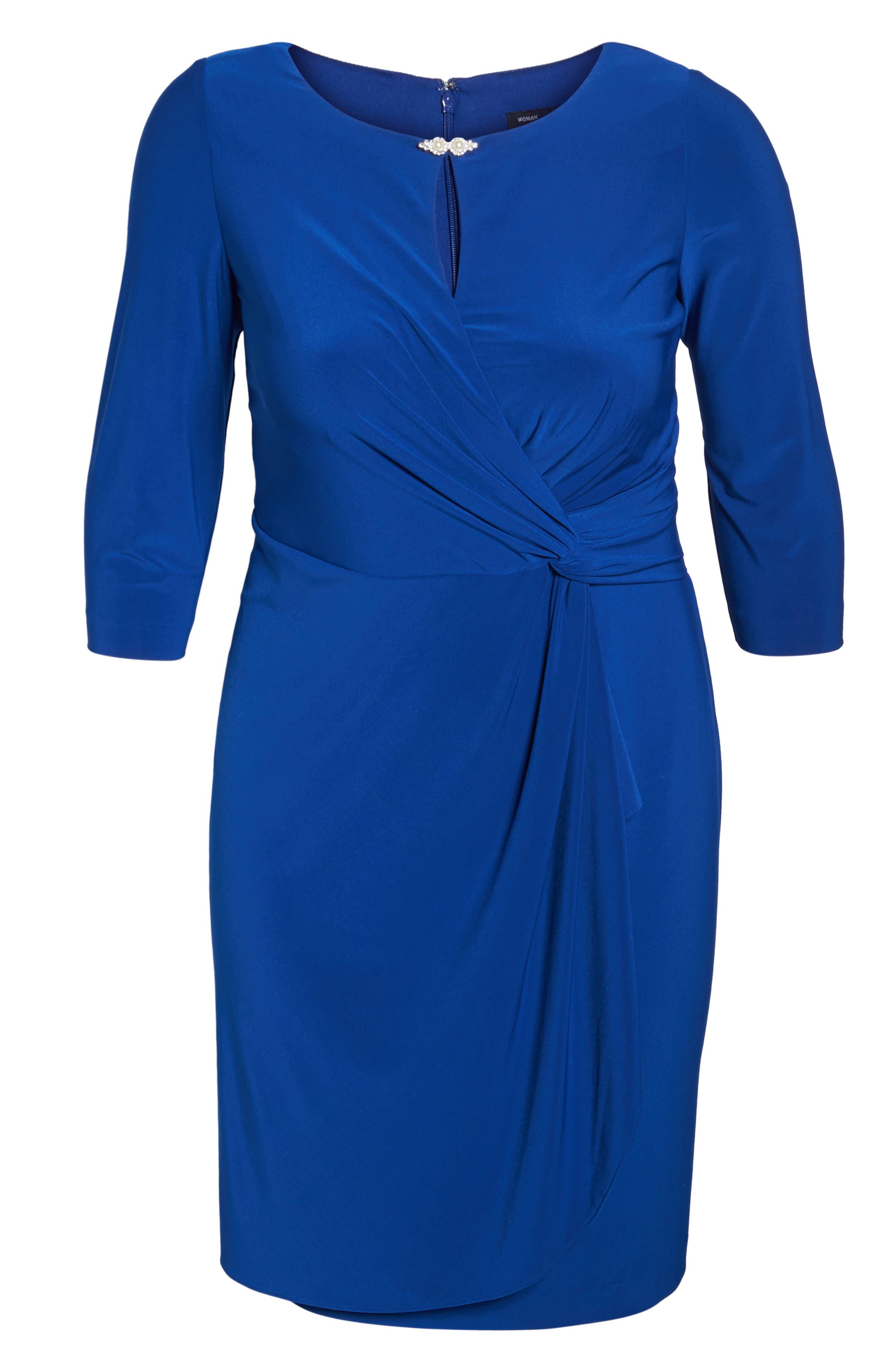 Embellished Knot Front Dress,                             Alternate thumbnail 6, color,                             461