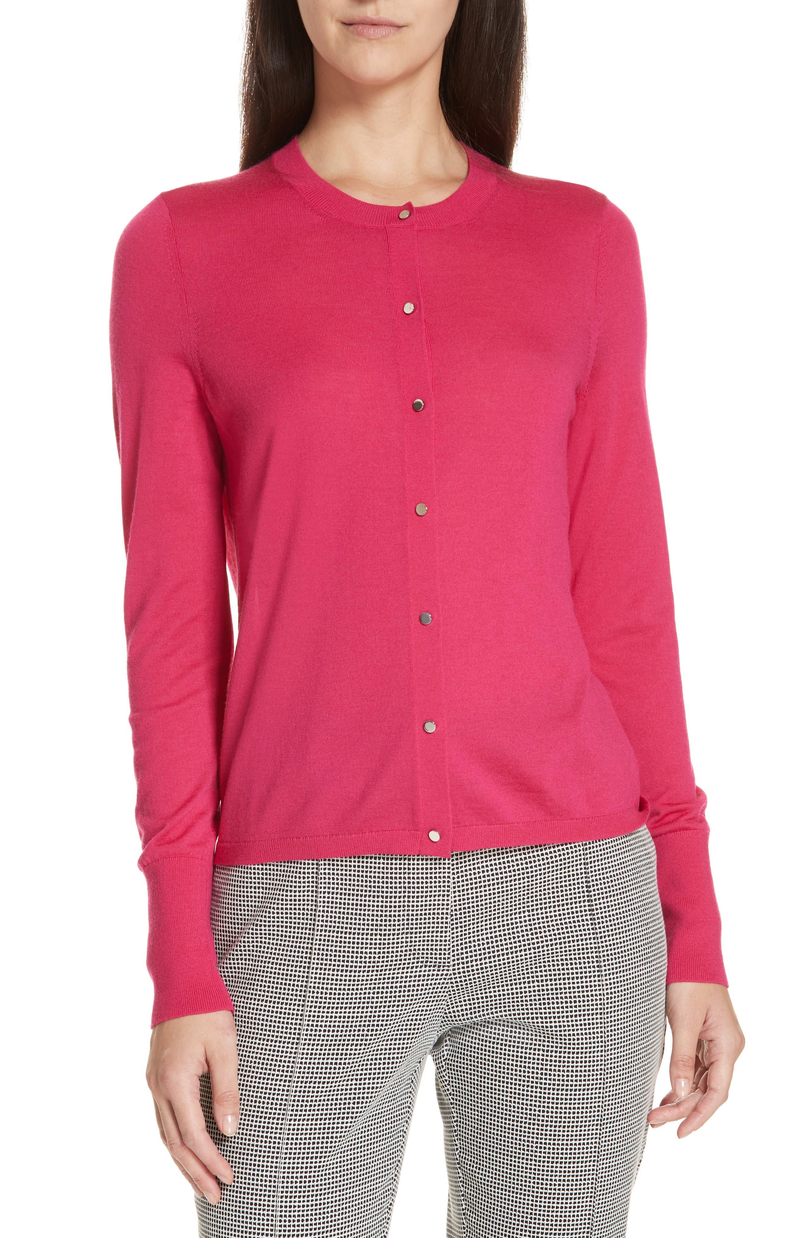 Filomeni Wool Cardigan,                         Main,                         color, DEEP PLUMBERRY