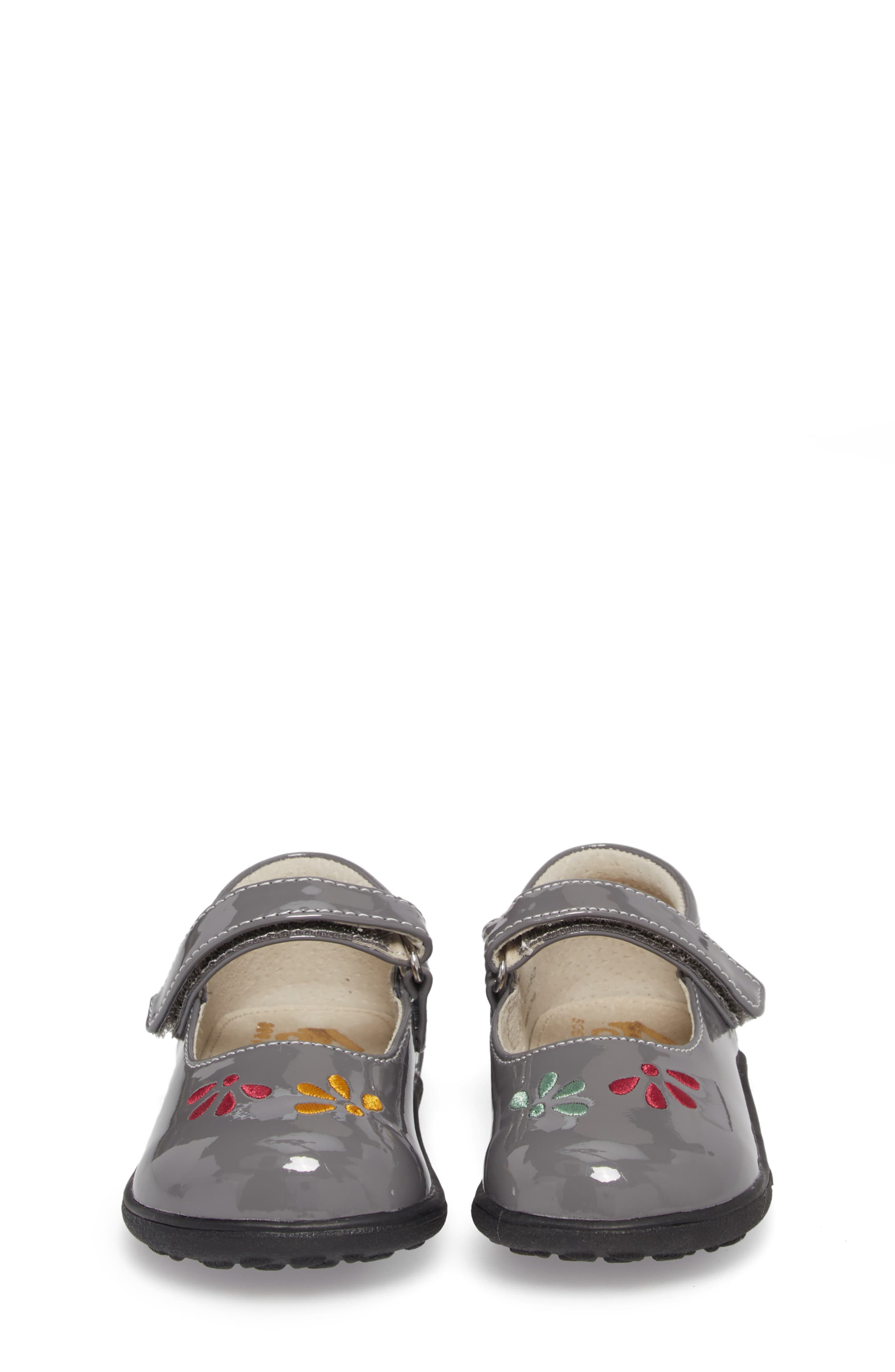 Ginny Embroidered Metallic Mary Jane,                             Alternate thumbnail 5, color,                             GRAY PATENT