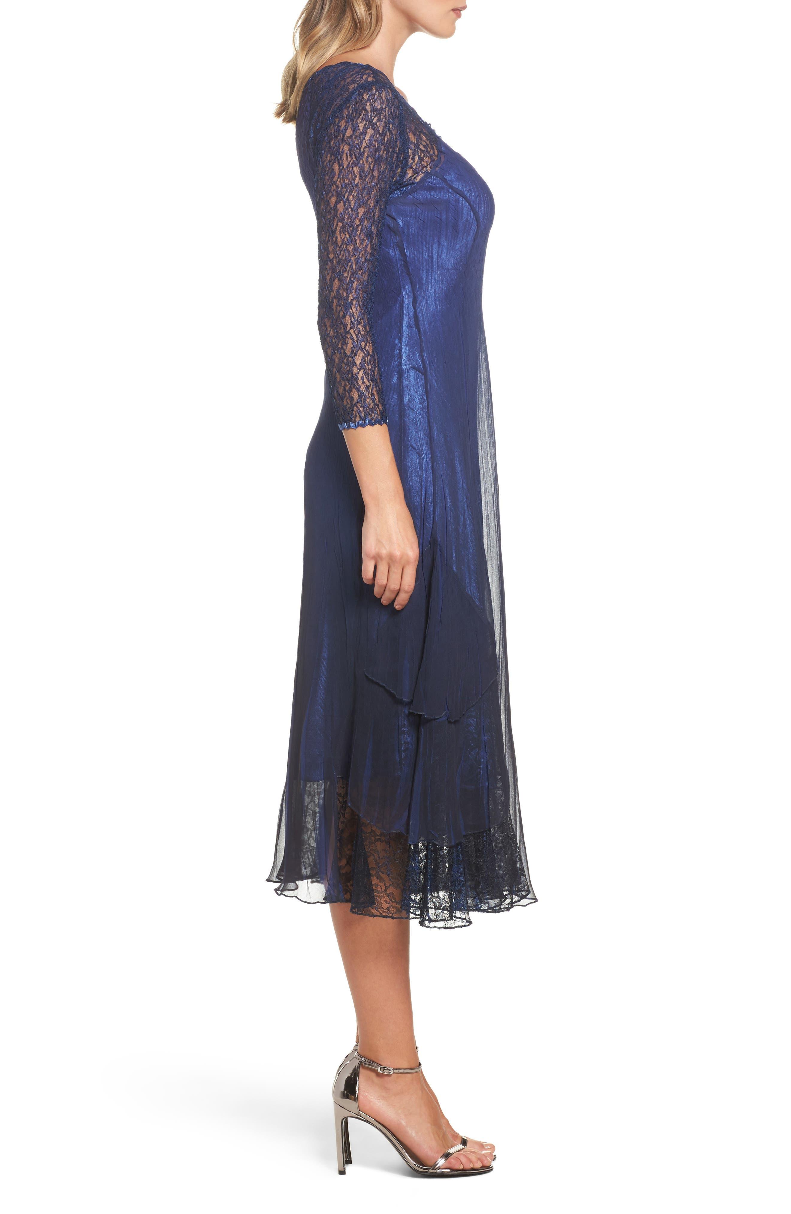 Ombré Lace & Chiffon Midi Dress,                             Alternate thumbnail 3, color,                             014