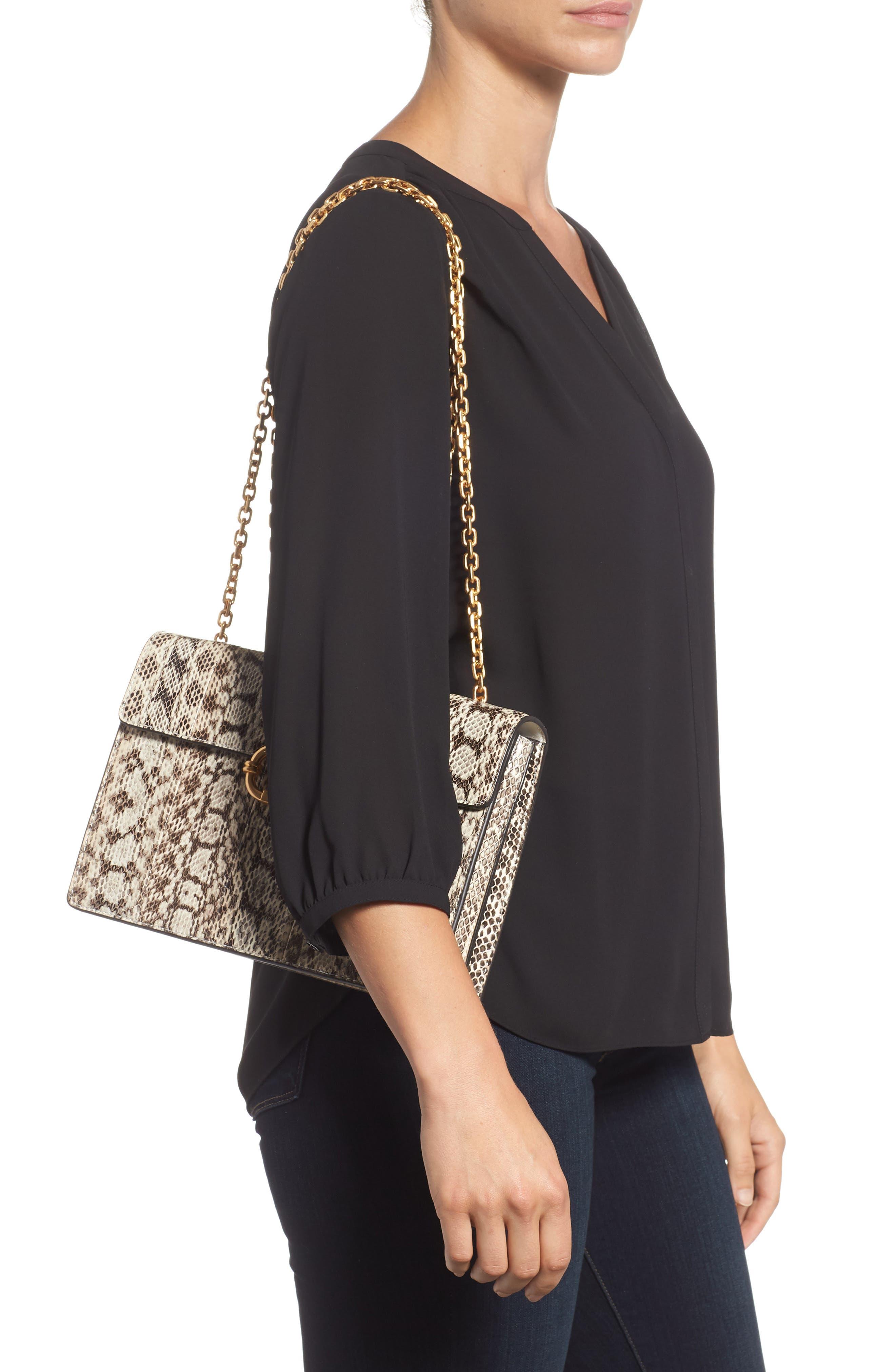 Medium Gemini Link Genuine Snakeskin Shoulder Bag,                             Alternate thumbnail 2, color,                             NATURAL