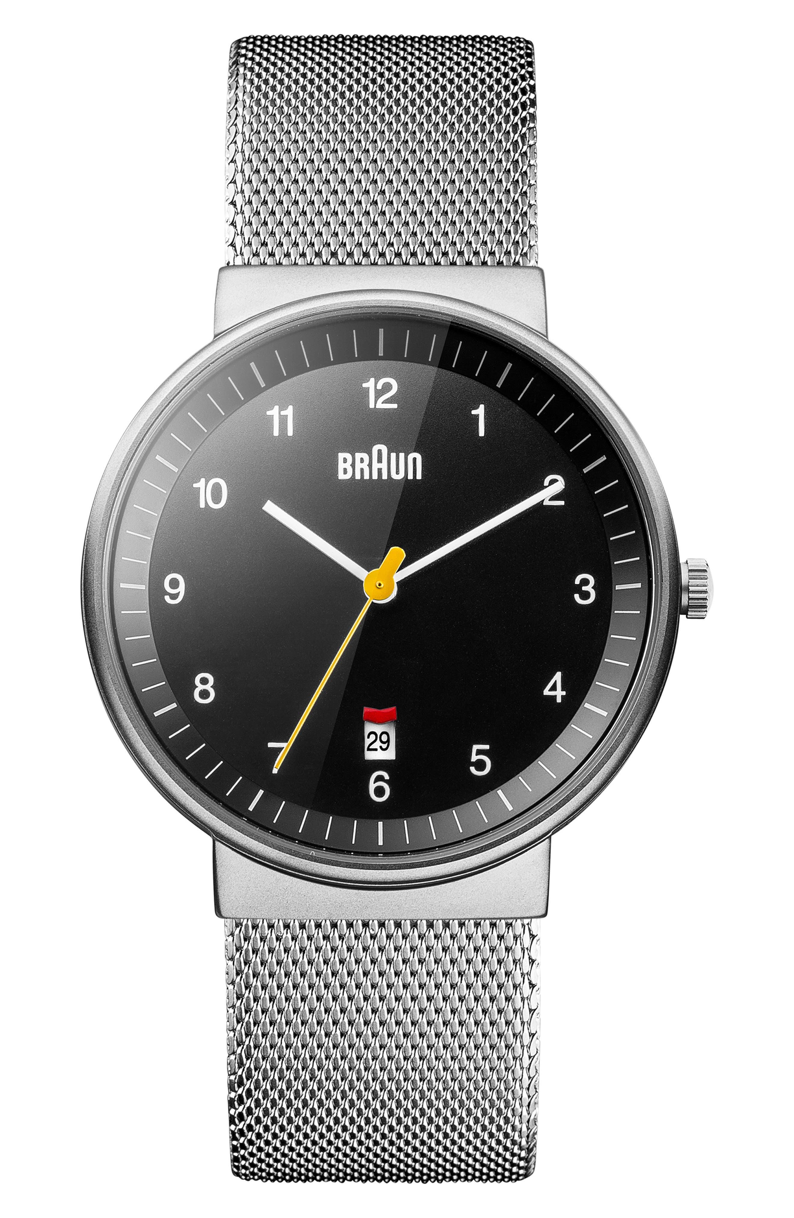 BRAUN 'Classic' Mesh Strap Watch, 40Mm in Silver/ Black/ Silver