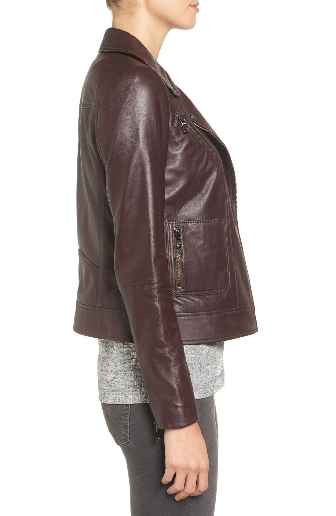 Leather Moto Jacket,                             Alternate thumbnail 4, color,                             201