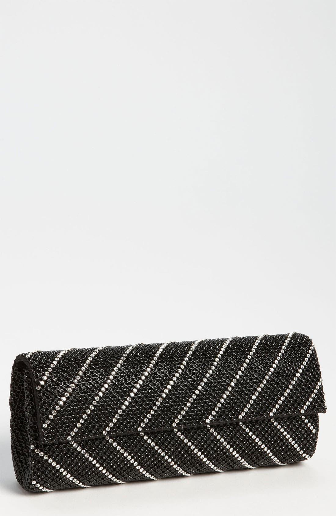 'Crystal Chevron' Flap Clutch,                         Main,                         color, BLACK