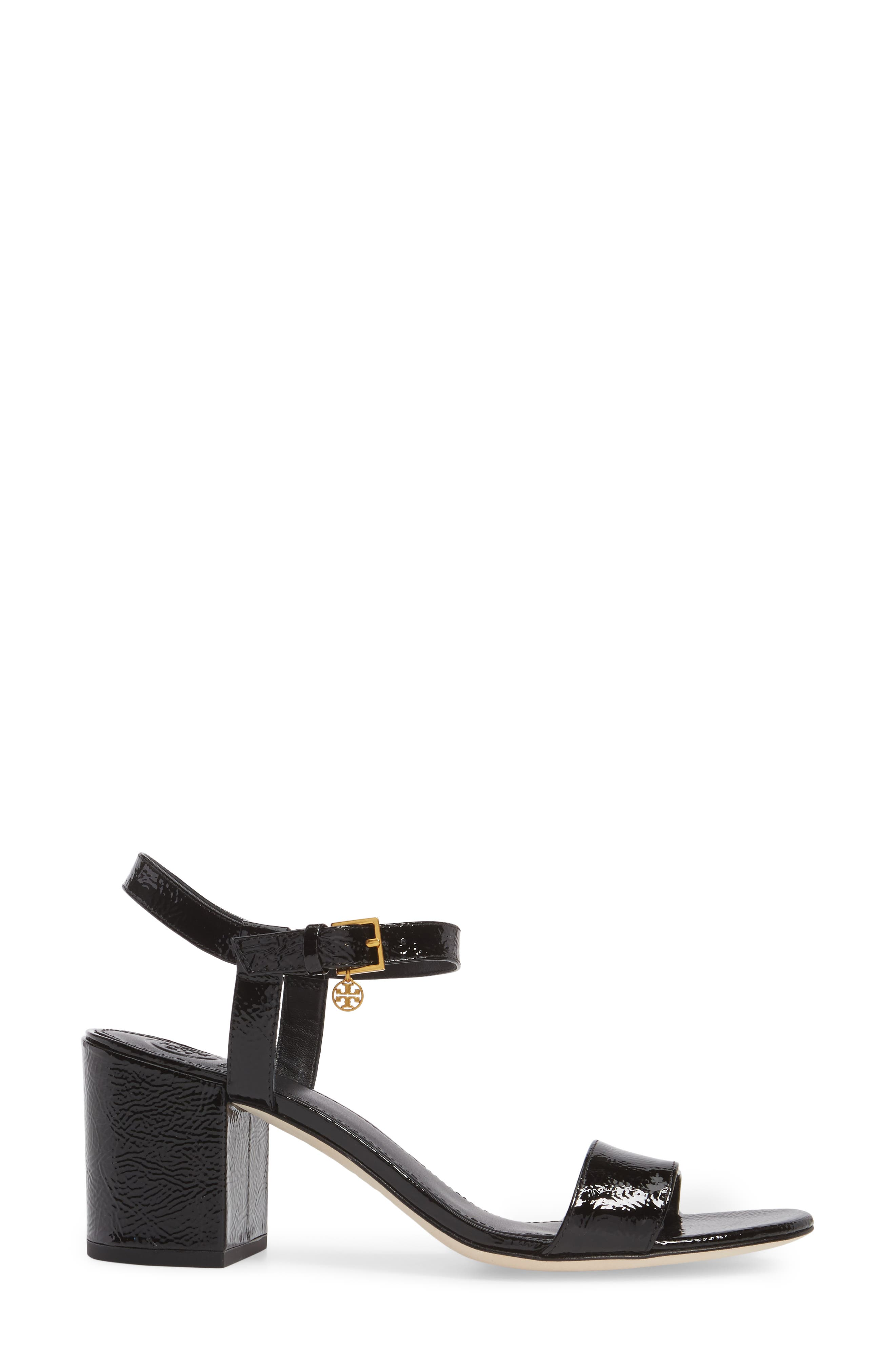 Laurel Ankle Strap Sandal,                             Alternate thumbnail 3, color,                             BLACK