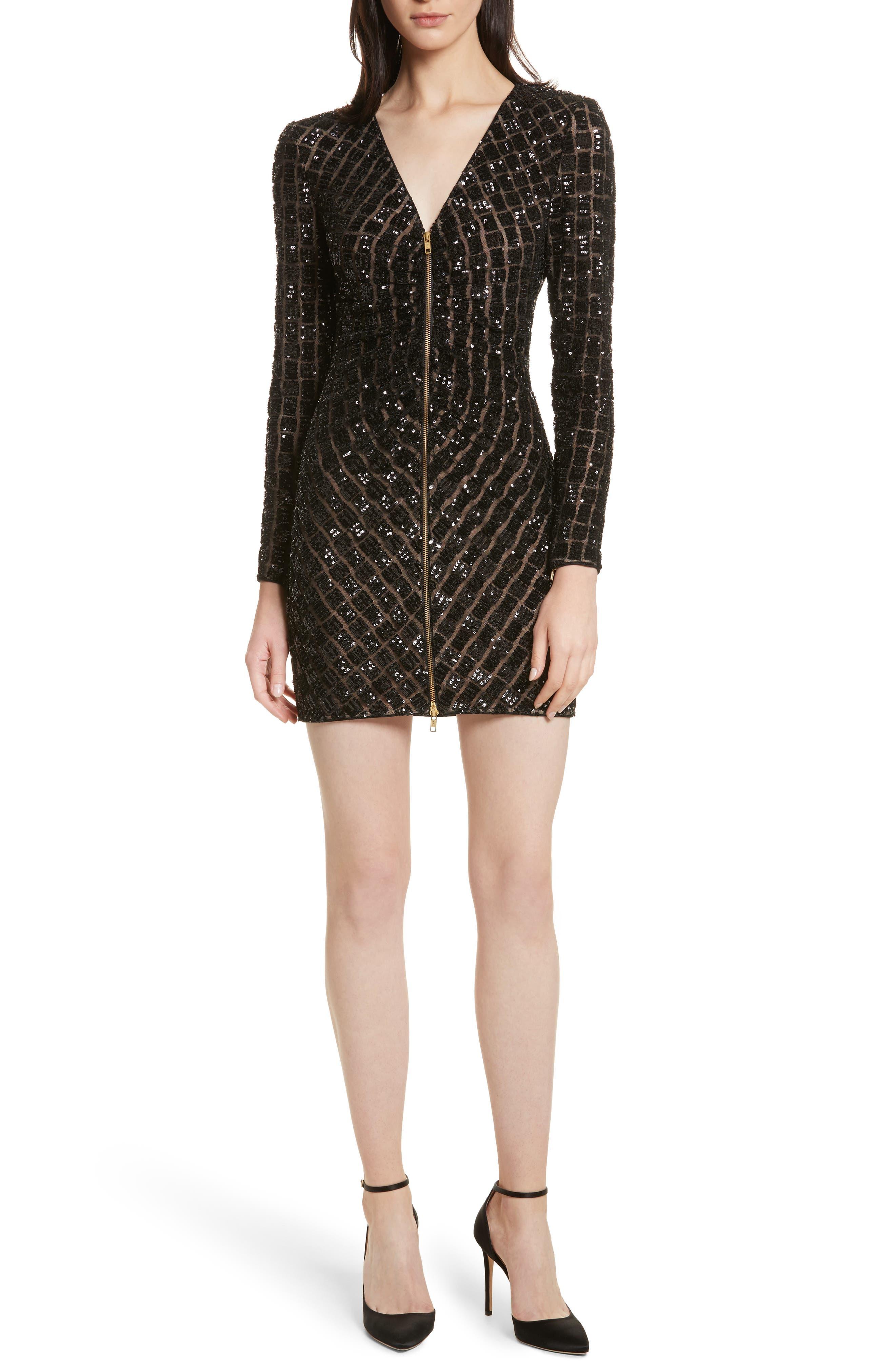 Zip Front Sequin Minidress,                             Main thumbnail 1, color,                             001