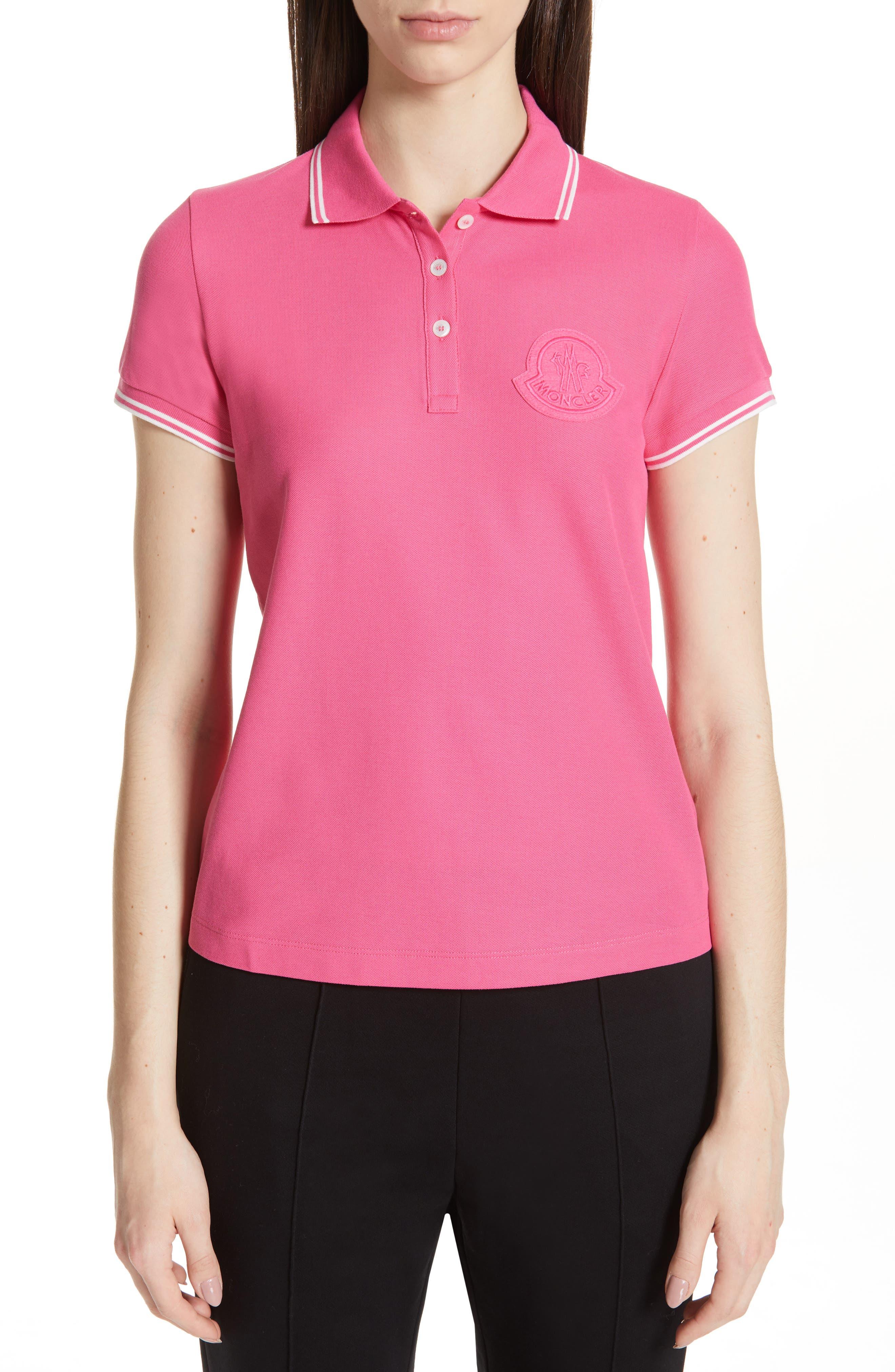 Moncler Pique Cotton Polo, Pink