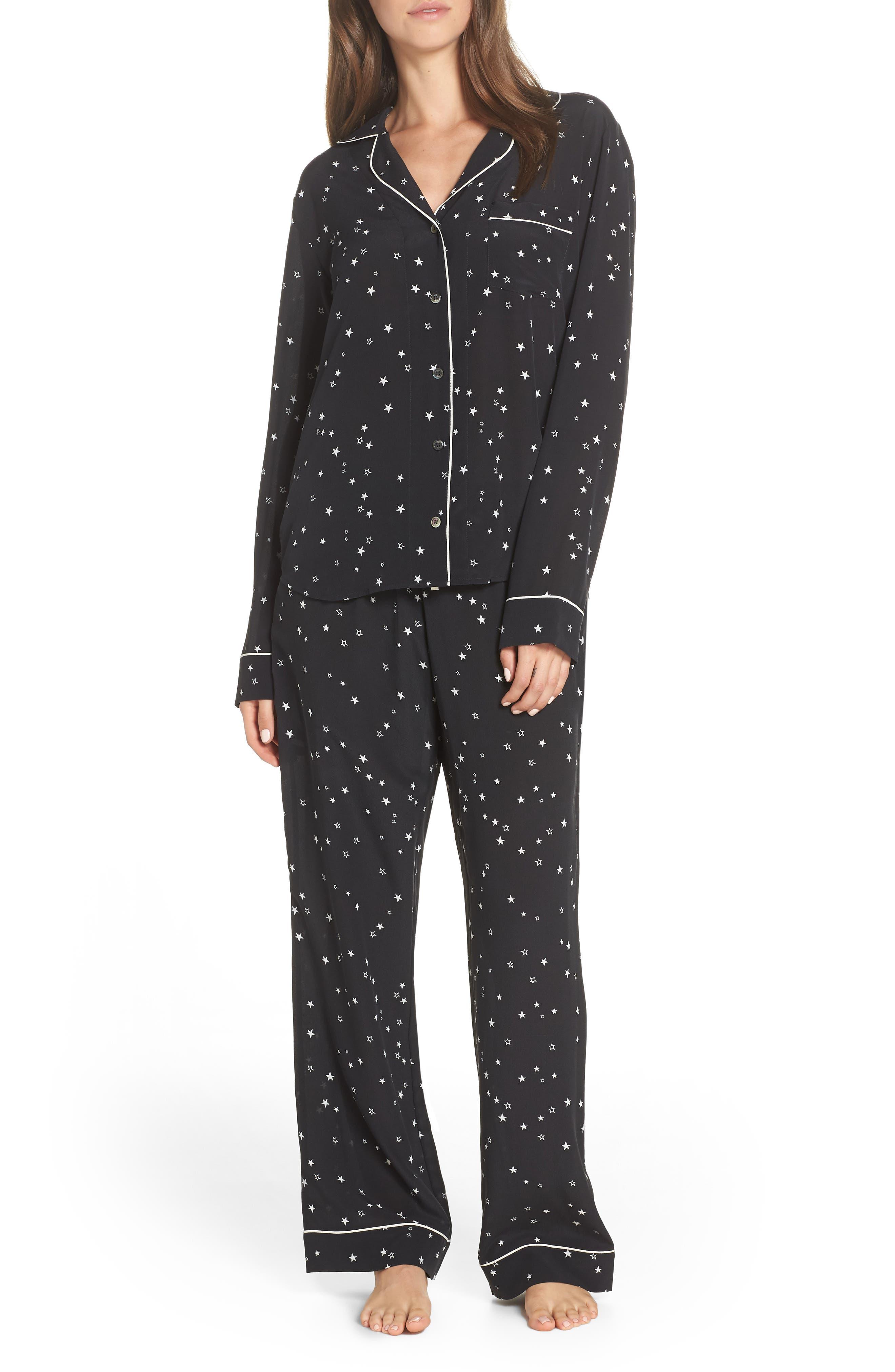 Raven Silk Pajamas,                             Main thumbnail 1, color,                             BLACK STARS
