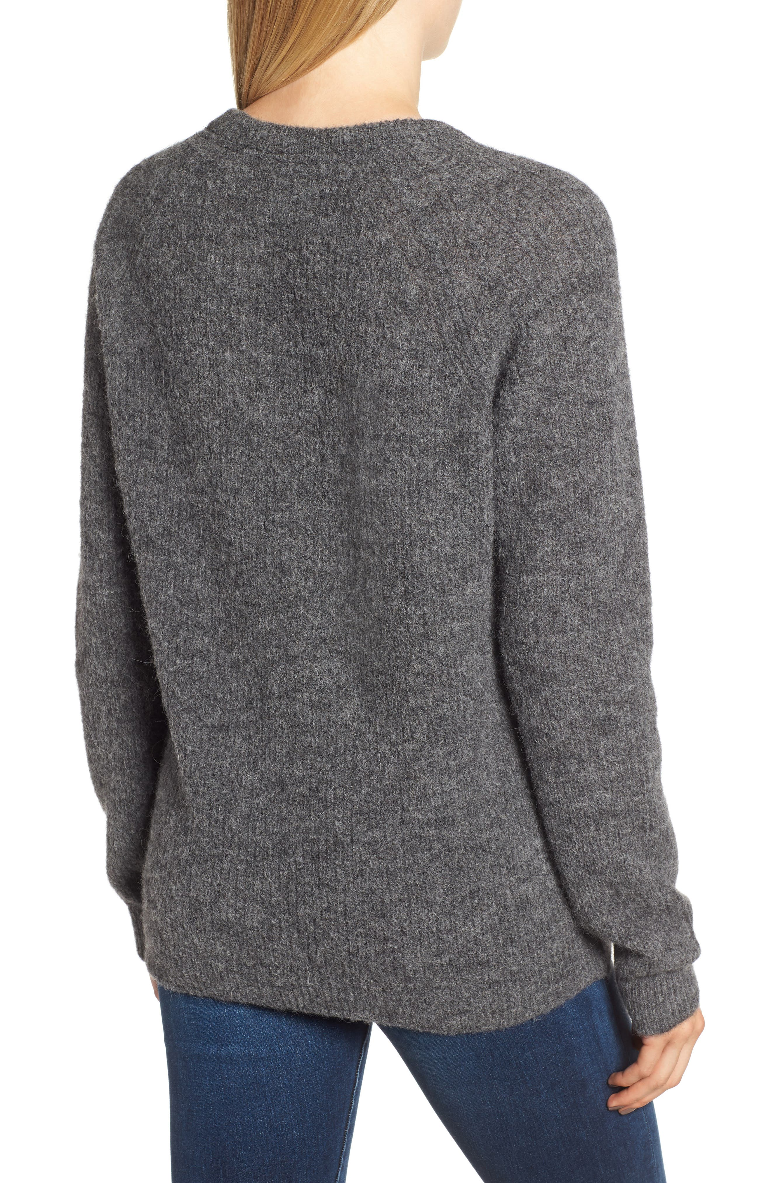 Olivia Crewneck Sweater,                             Alternate thumbnail 2, color,                             DARK GREY MARL