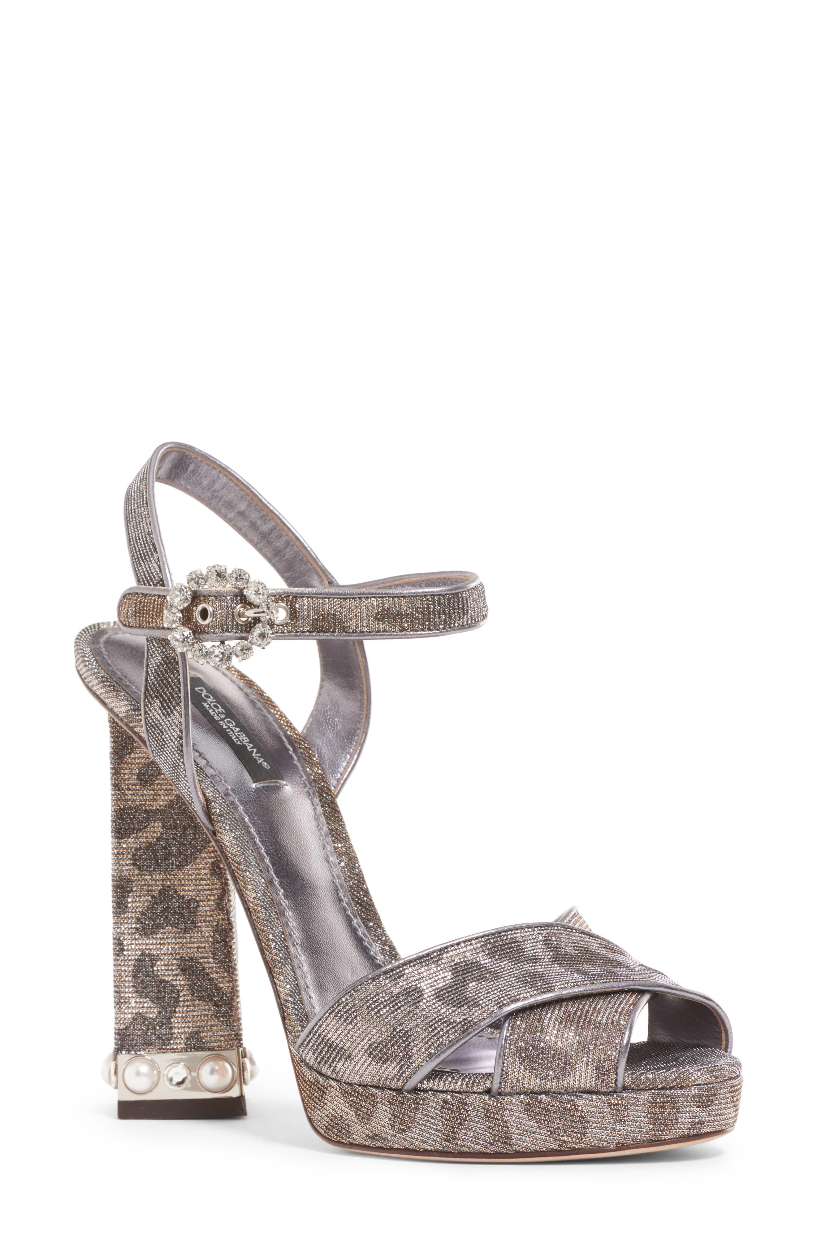 Metallic Leopard Print Sandal,                         Main,                         color, SILVER/ GOLD