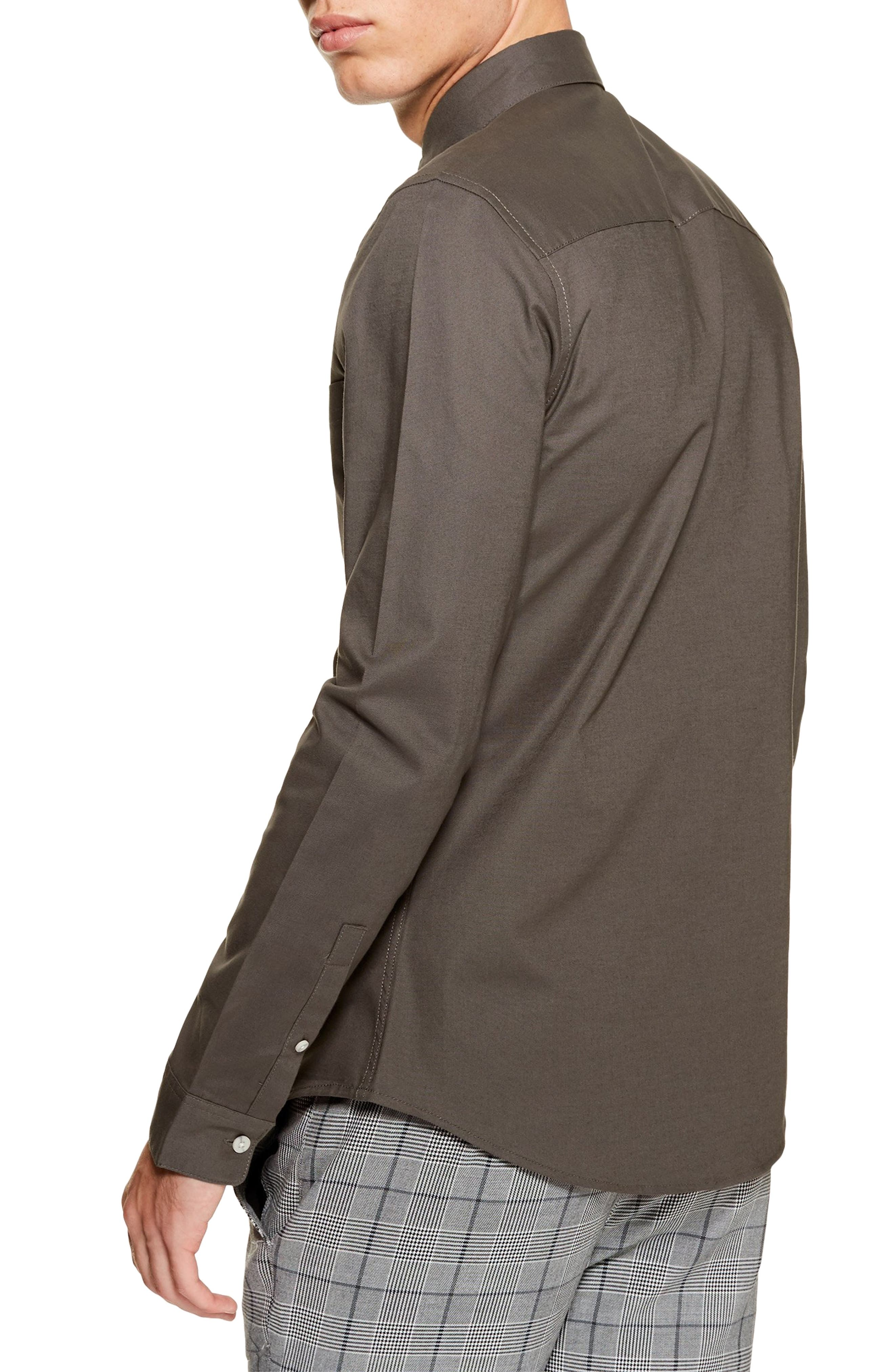 Classic Fit Oxford Shirt,                             Alternate thumbnail 3, color,                             GREY