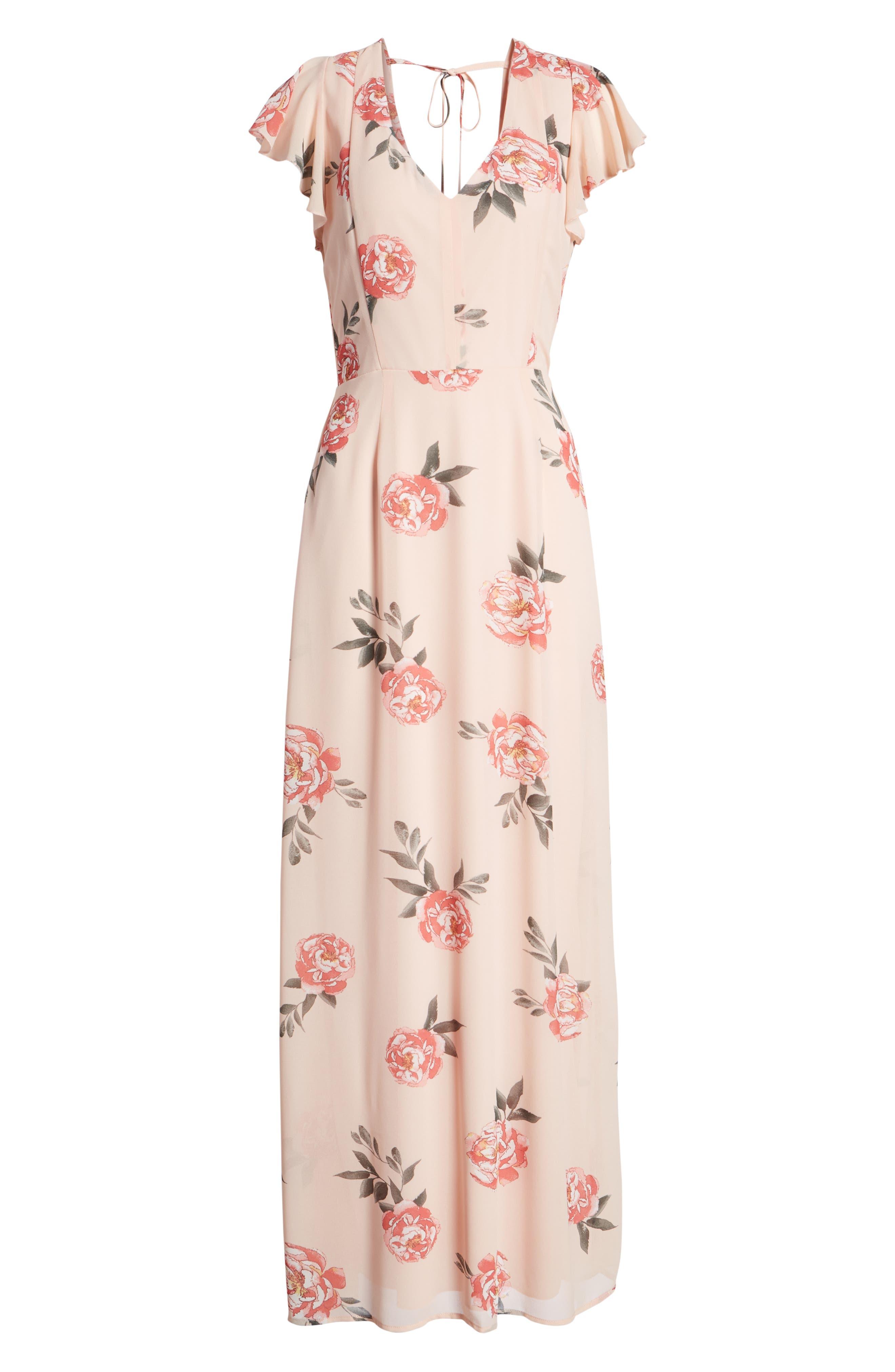 Floral Maxi Dress,                             Alternate thumbnail 7, color,                             LIGHT PEACH