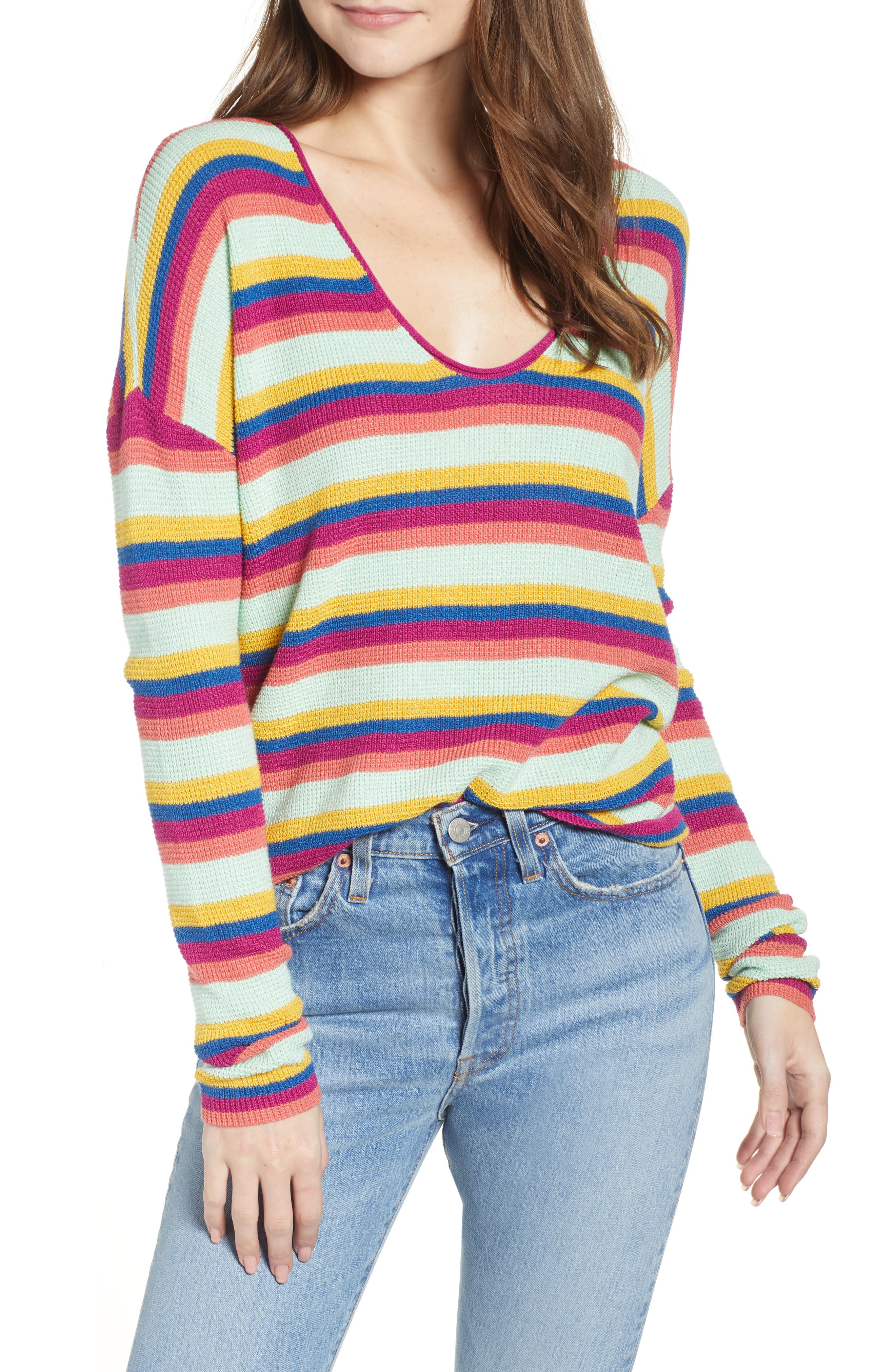 BP. Stripe Thermal Stitch Sweater, Main, color, PINK YARROW EMMA STRIPE