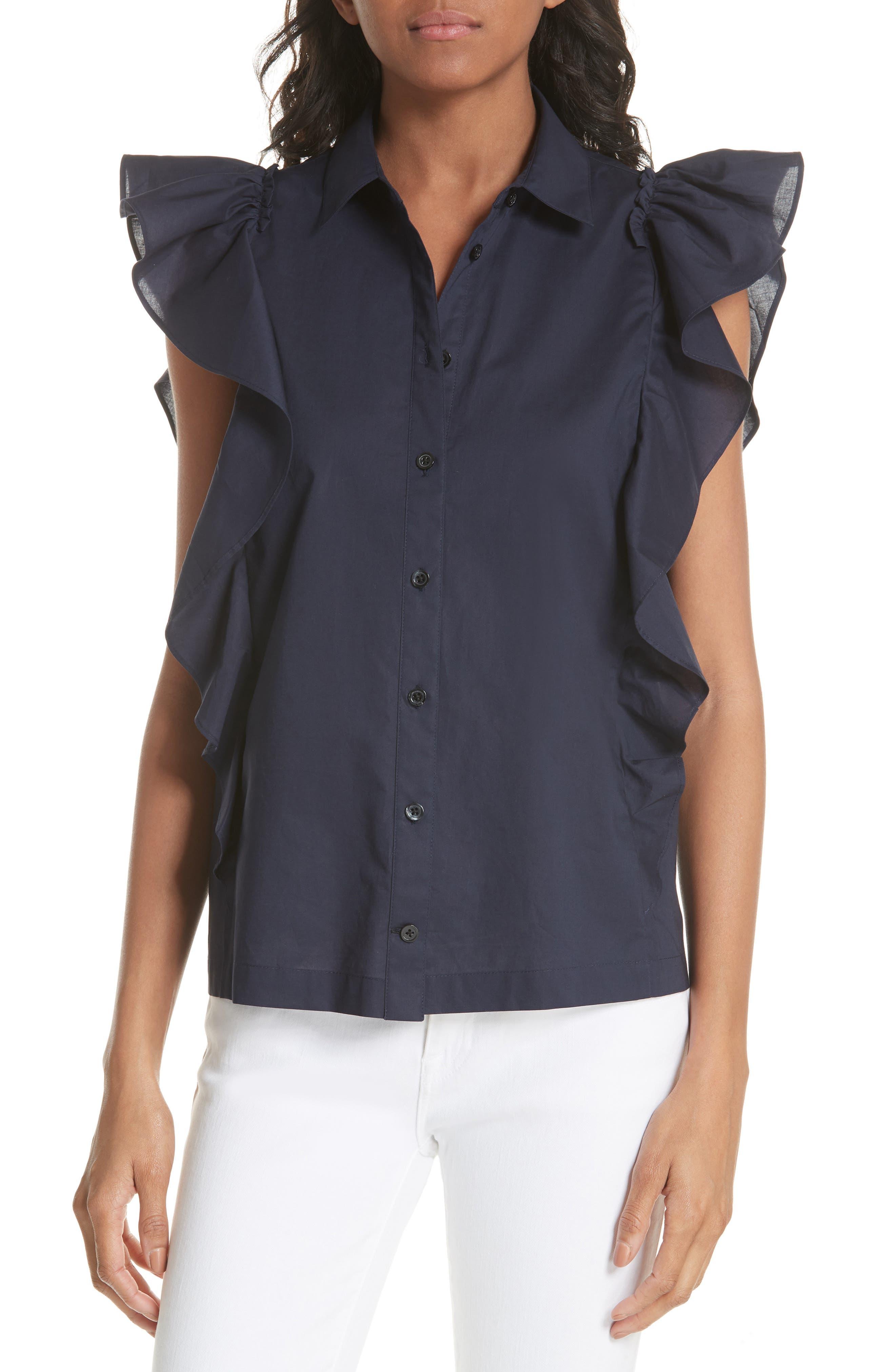 flutter sleeve button down cotton blouse,                             Main thumbnail 1, color,