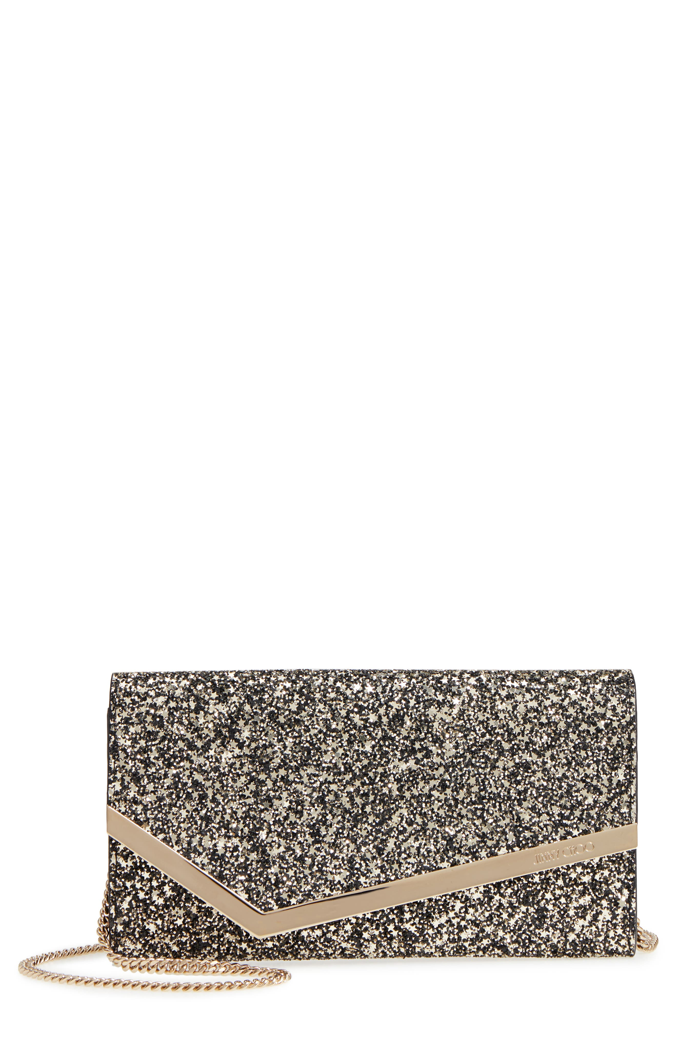 Emmie Star Glitter Clutch,                             Main thumbnail 1, color,                             GOLD MIX