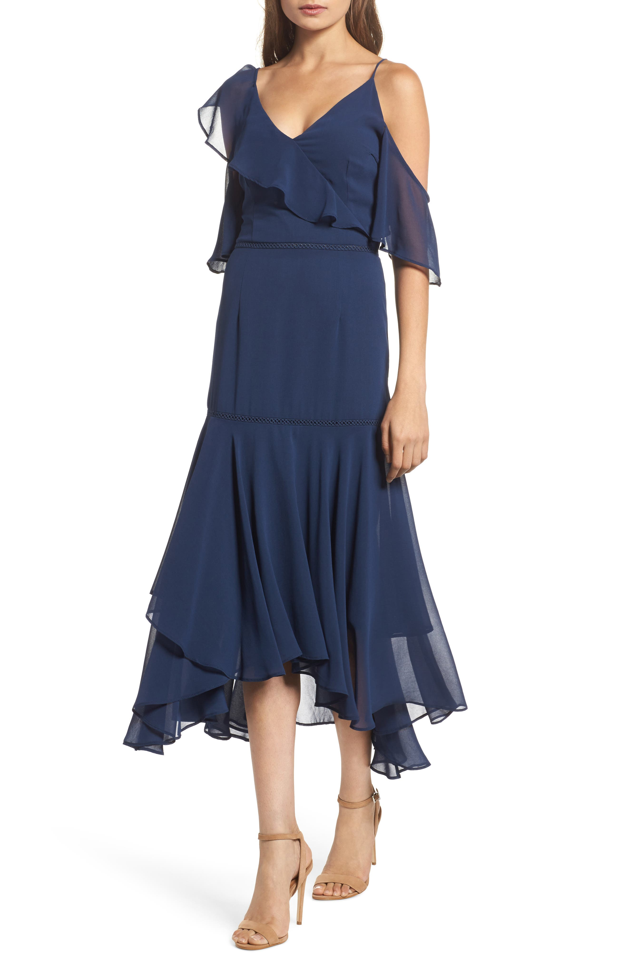 Utopia Cold Shoulder Midi Dress,                             Main thumbnail 1, color,                             435