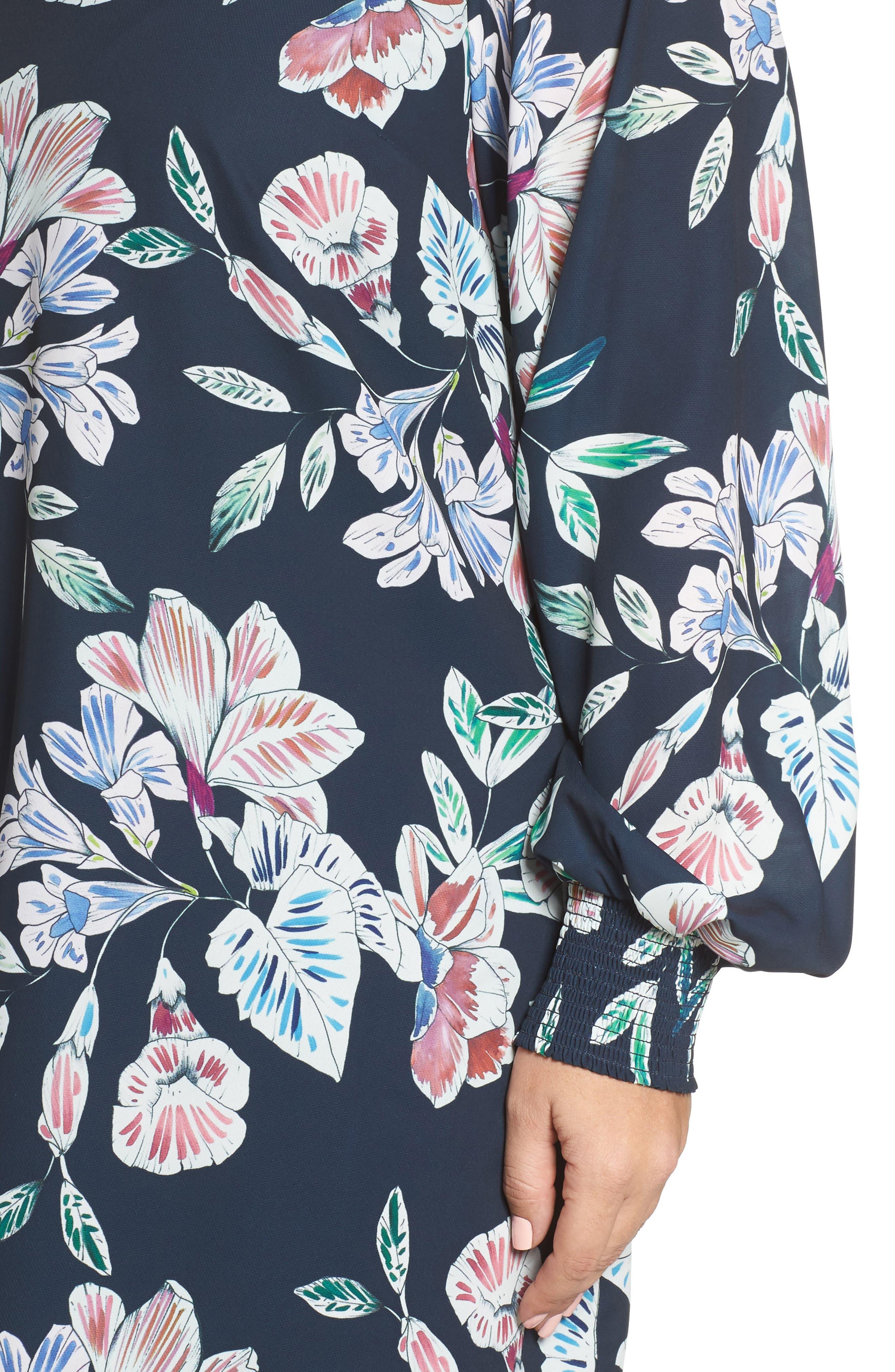 Phantom Floral Shift Dress,                             Alternate thumbnail 4, color,                             001