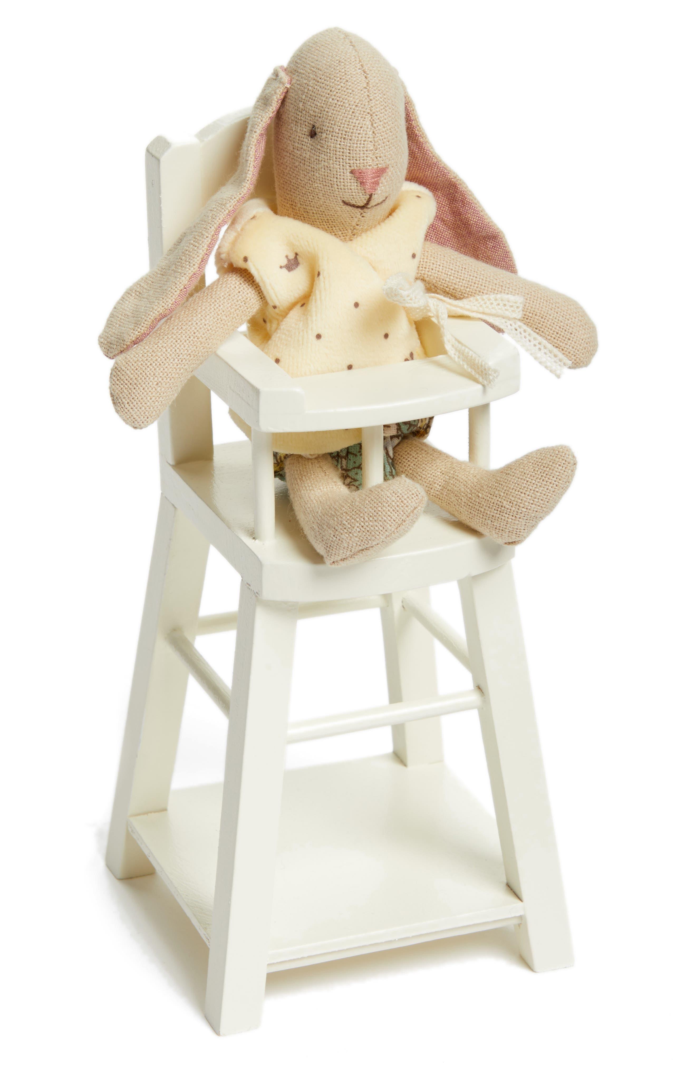Micro Bunny Rabbit Stuffed Animal and Highchair,                             Main thumbnail 1, color,                             020