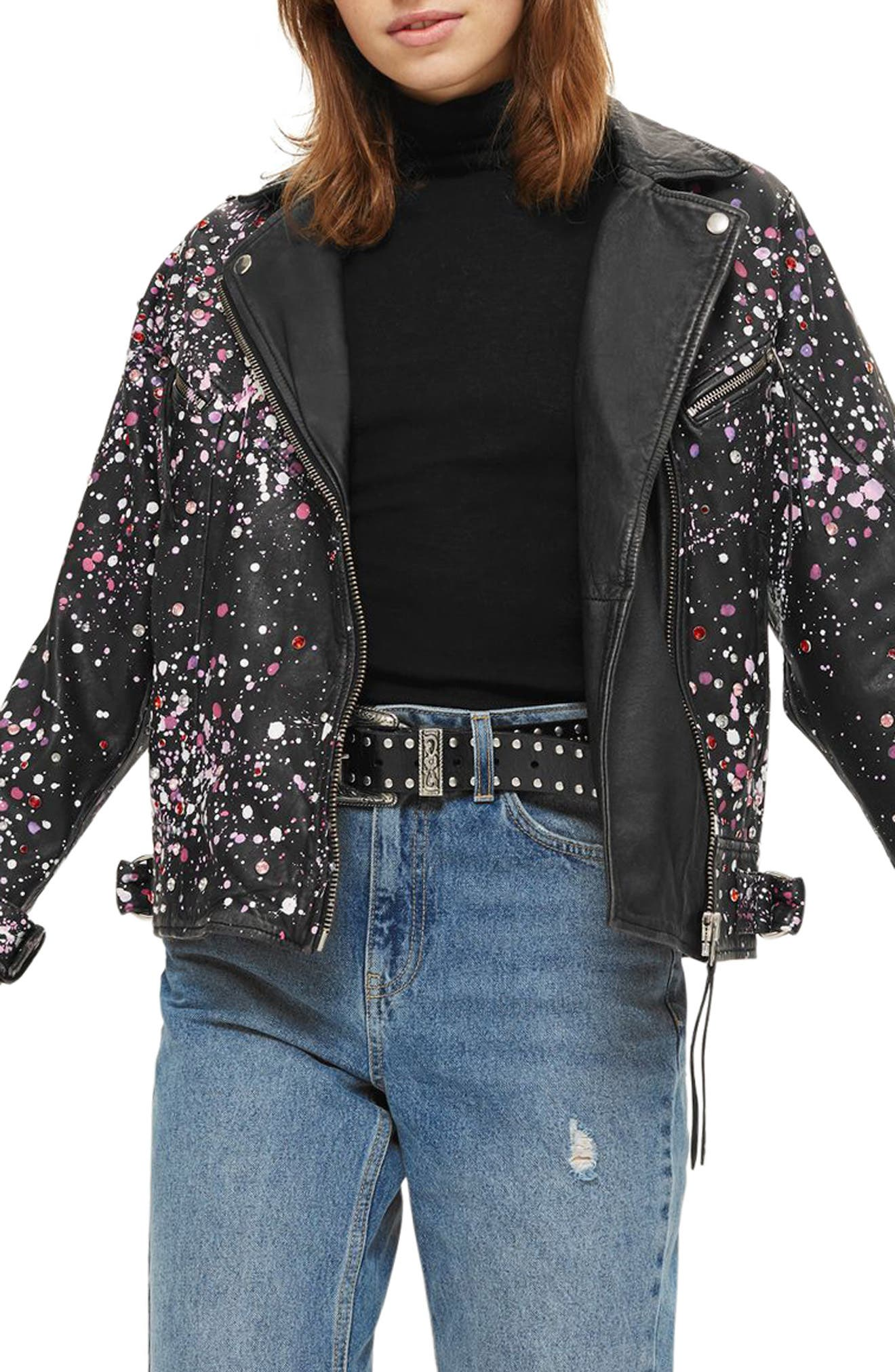 Eddie Rhinestone & Paint Splatter Leather Biker Jacket,                         Main,                         color, 001