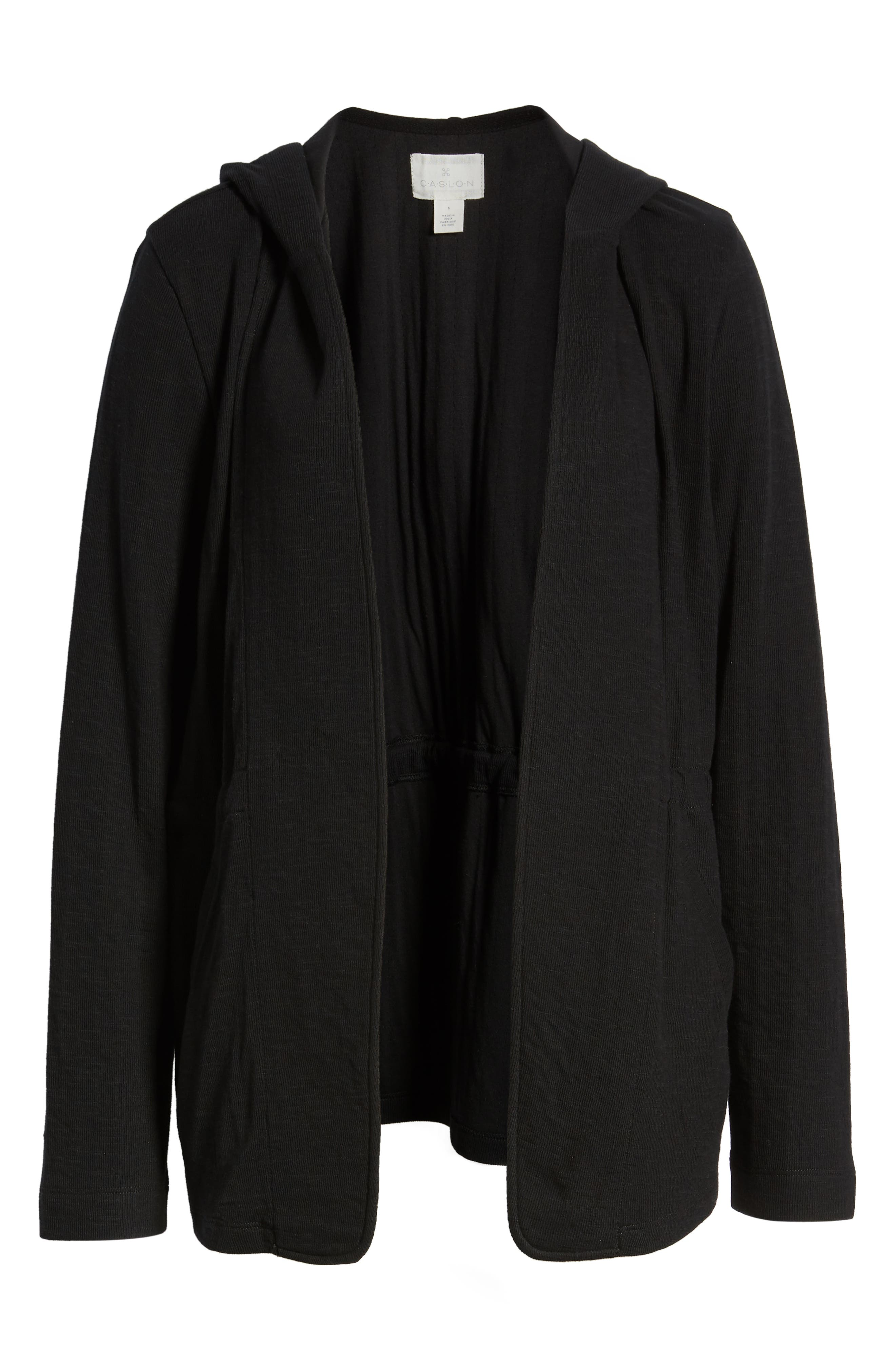 CASLON<SUP>®</SUP>,                             Open Front Hooded Cardigan,                             Alternate thumbnail 6, color,                             BLACK