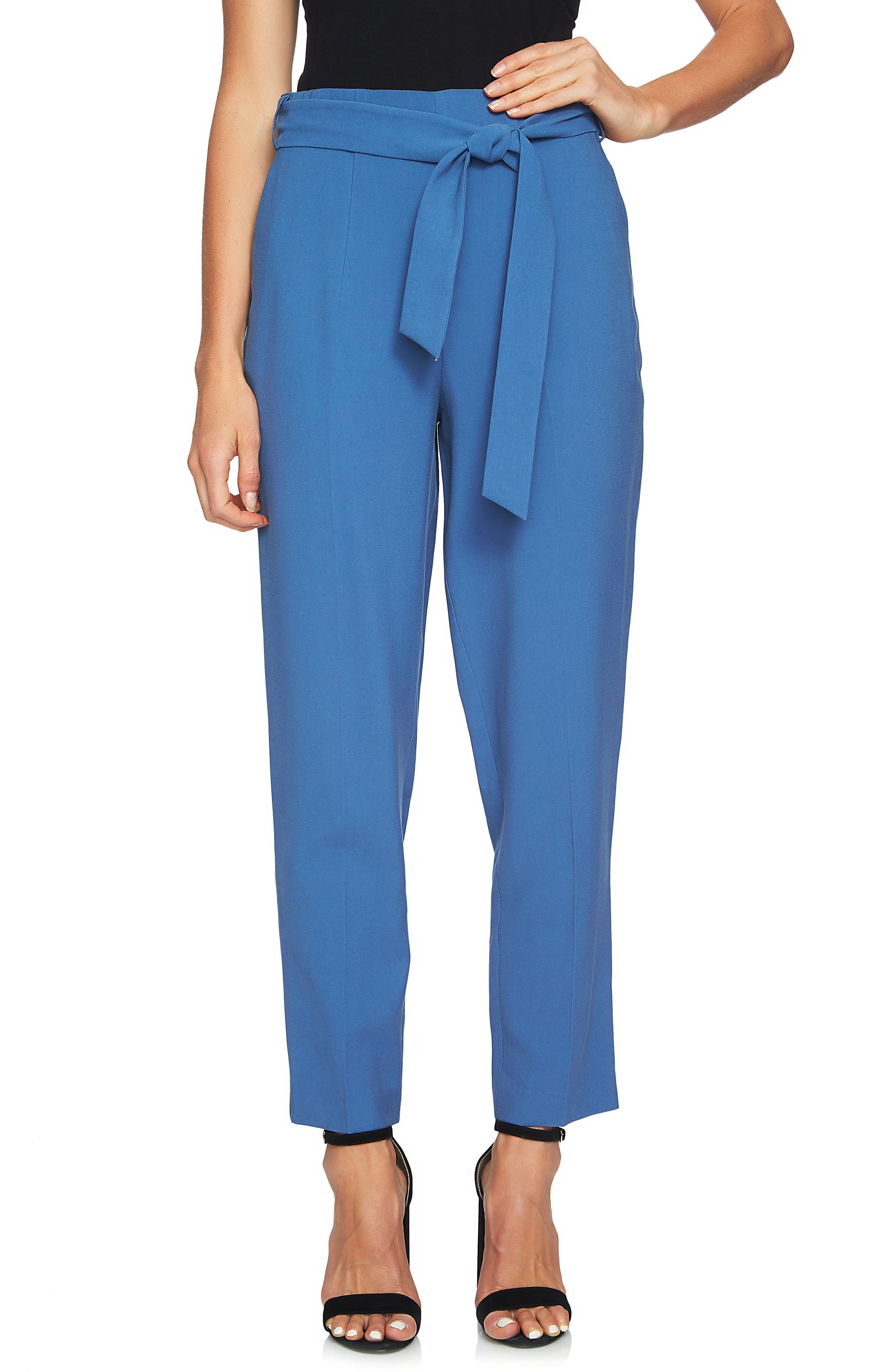 Tie Waist Tapered Trousers,                             Main thumbnail 2, color,