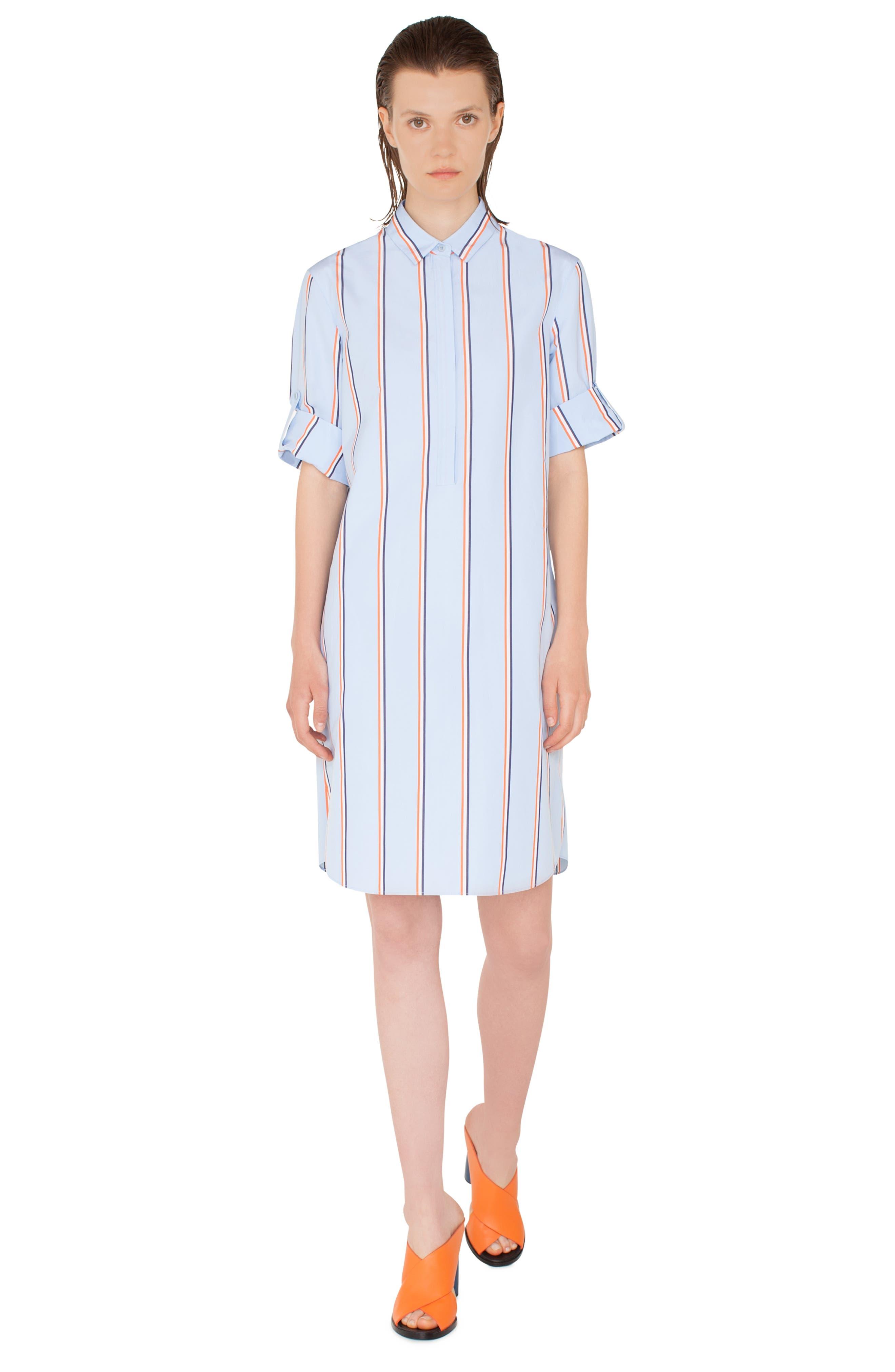 Stripe Cotton Shirtdress,                             Alternate thumbnail 5, color,                             CIELO-MULTICOLOR