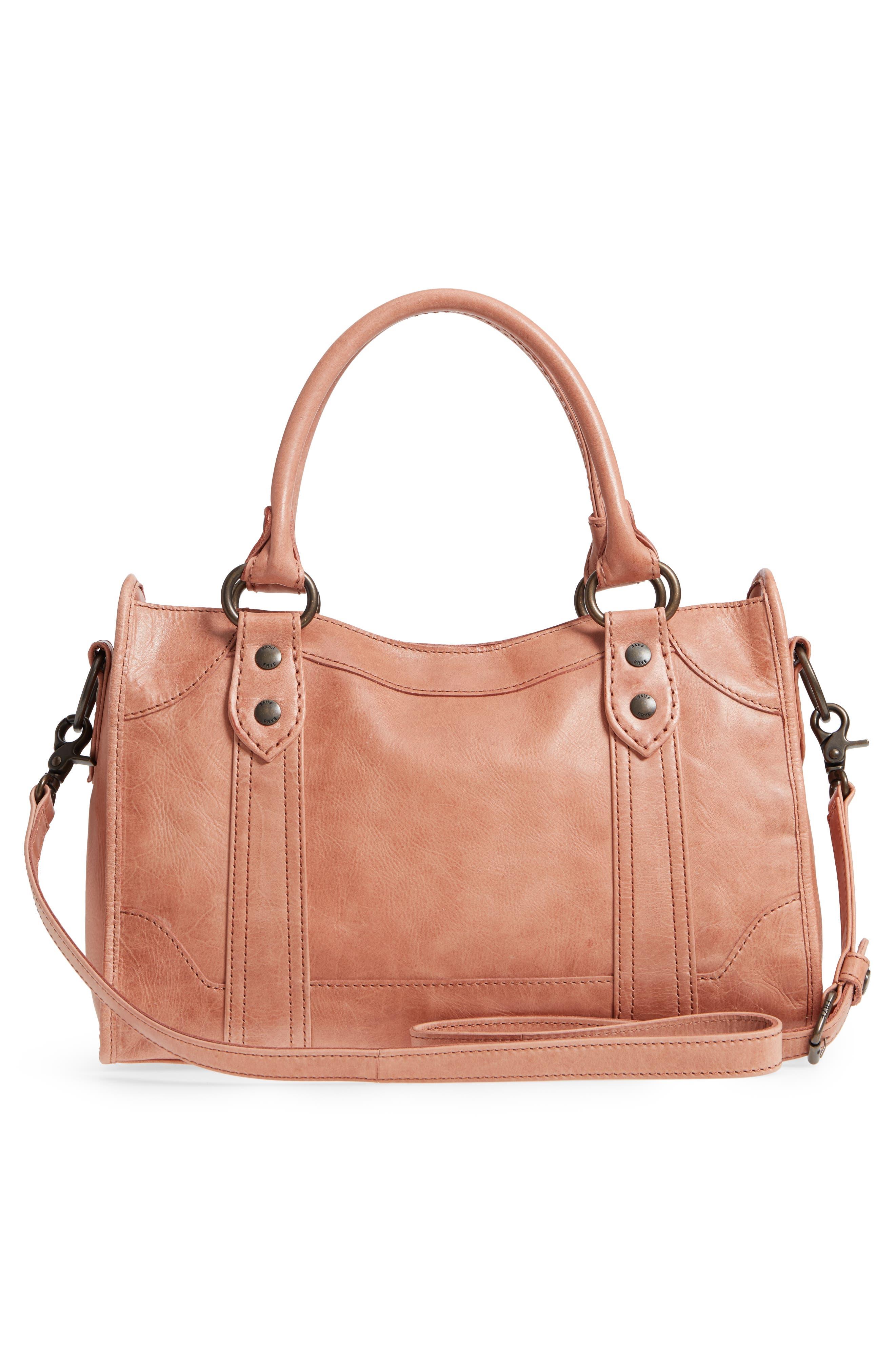'Melissa' Washed Leather Satchel,                             Alternate thumbnail 3, color,                             DUSTY ROSE