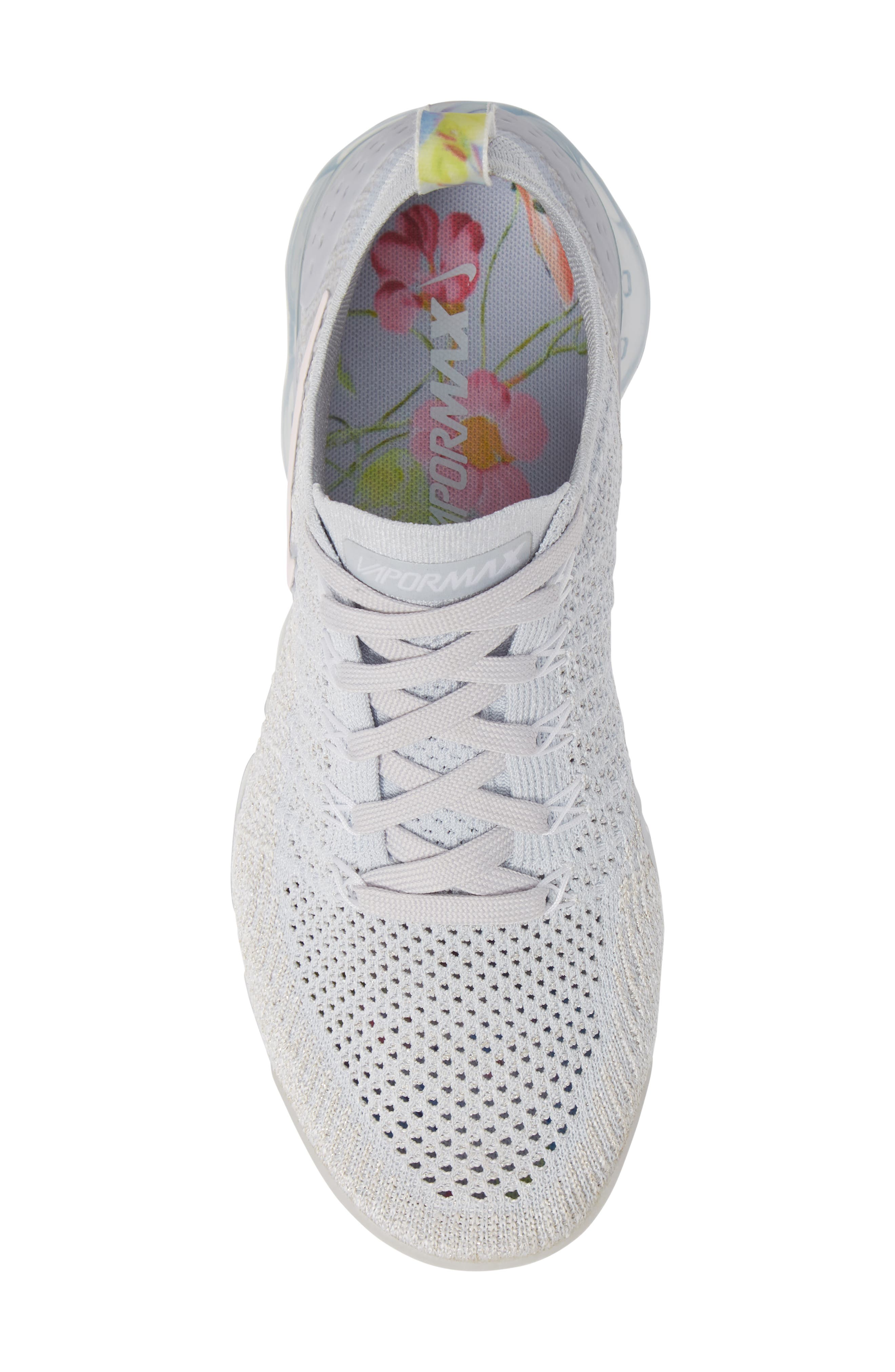 Air VaporMax Flyknit 2 Running Shoe,                             Alternate thumbnail 5, color,                             PURE PLATINUM/ PINK-WHITE
