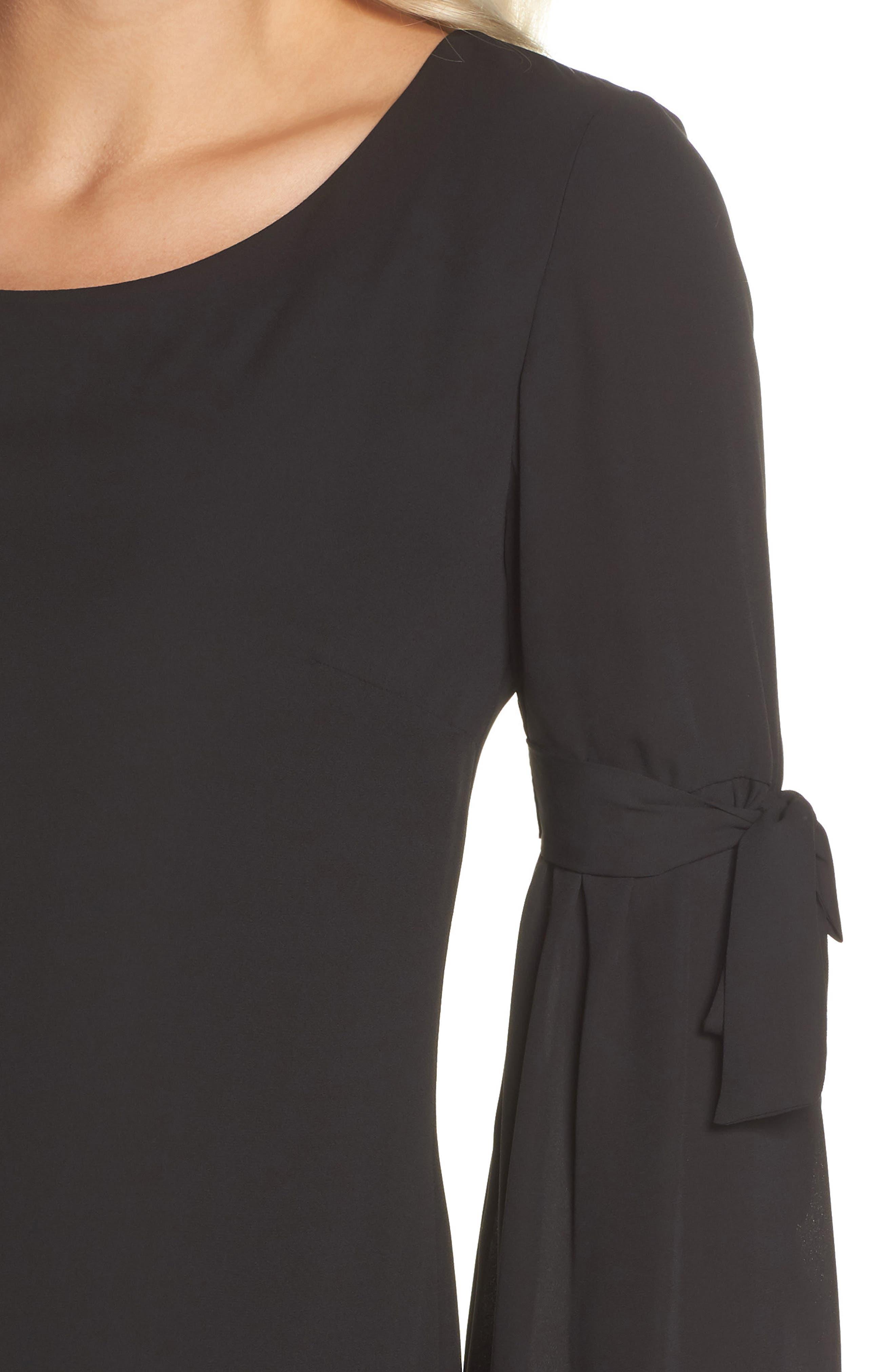 Bell Sleeve Dress,                             Alternate thumbnail 4, color,                             BLACK