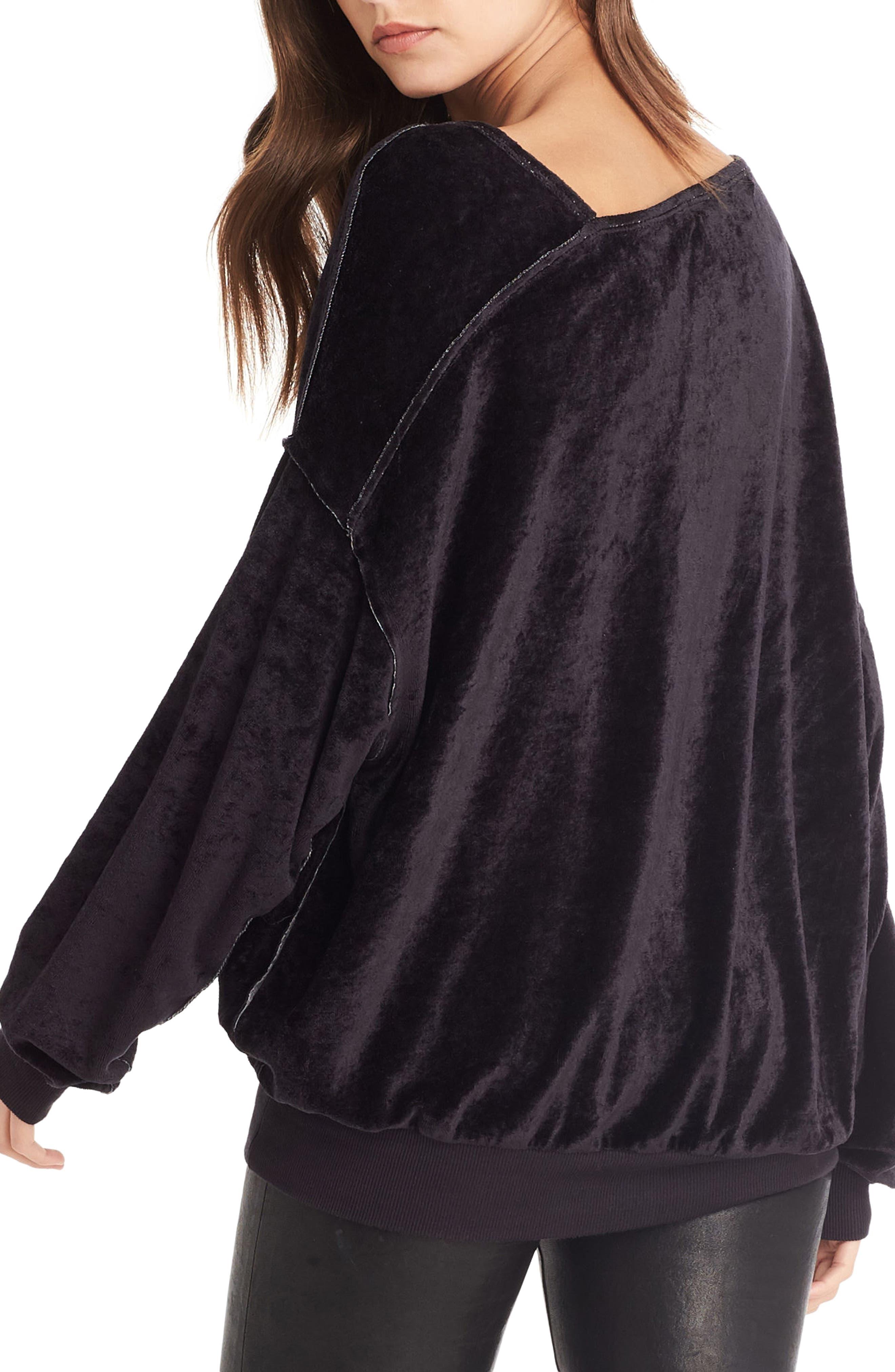 Asymmetrical Neck Velvet Pullover,                             Alternate thumbnail 2, color,                             001