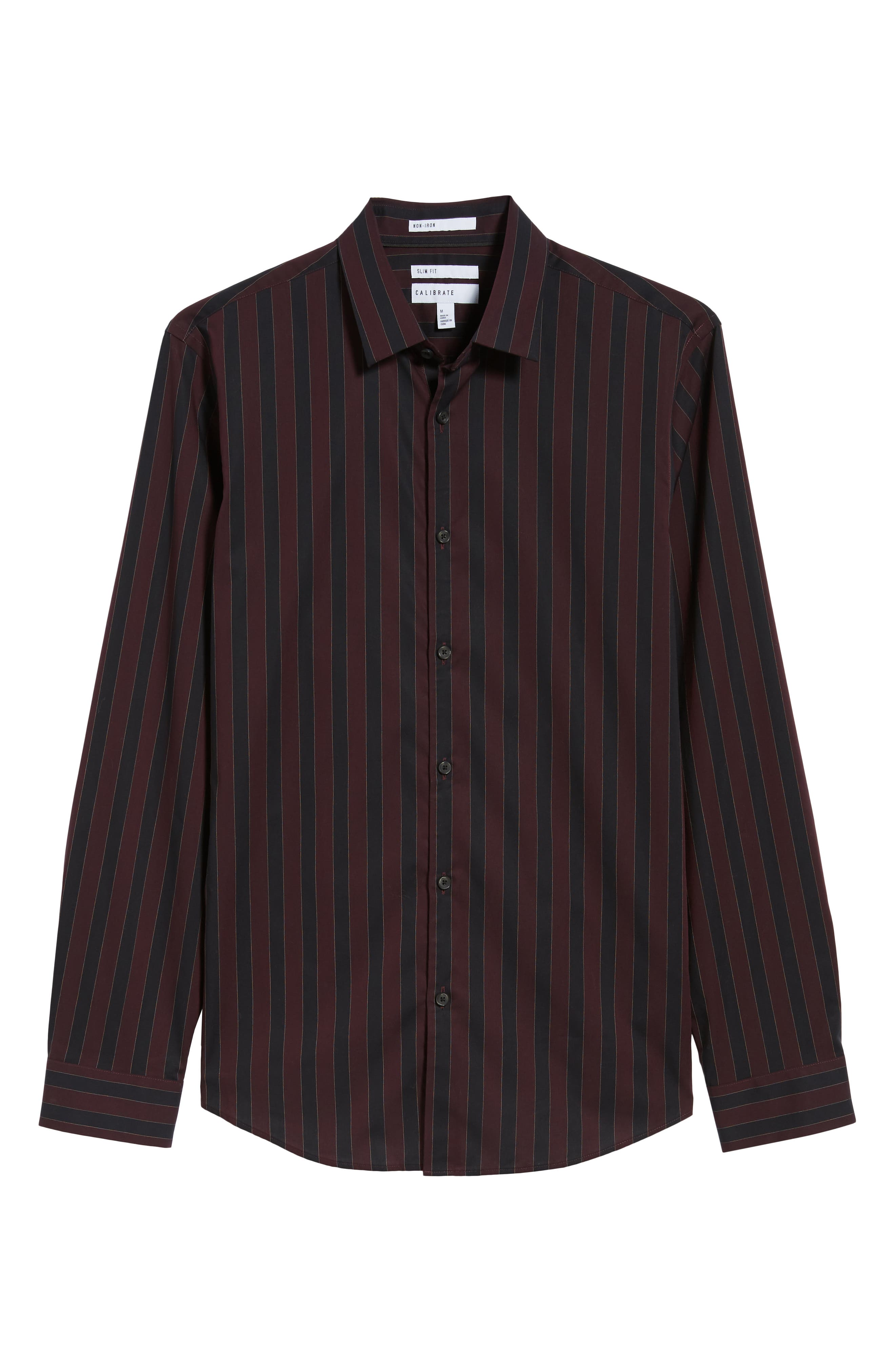 Trim Fit Non-Iron Stripe Sport Shirt,                             Alternate thumbnail 5, color,                             938