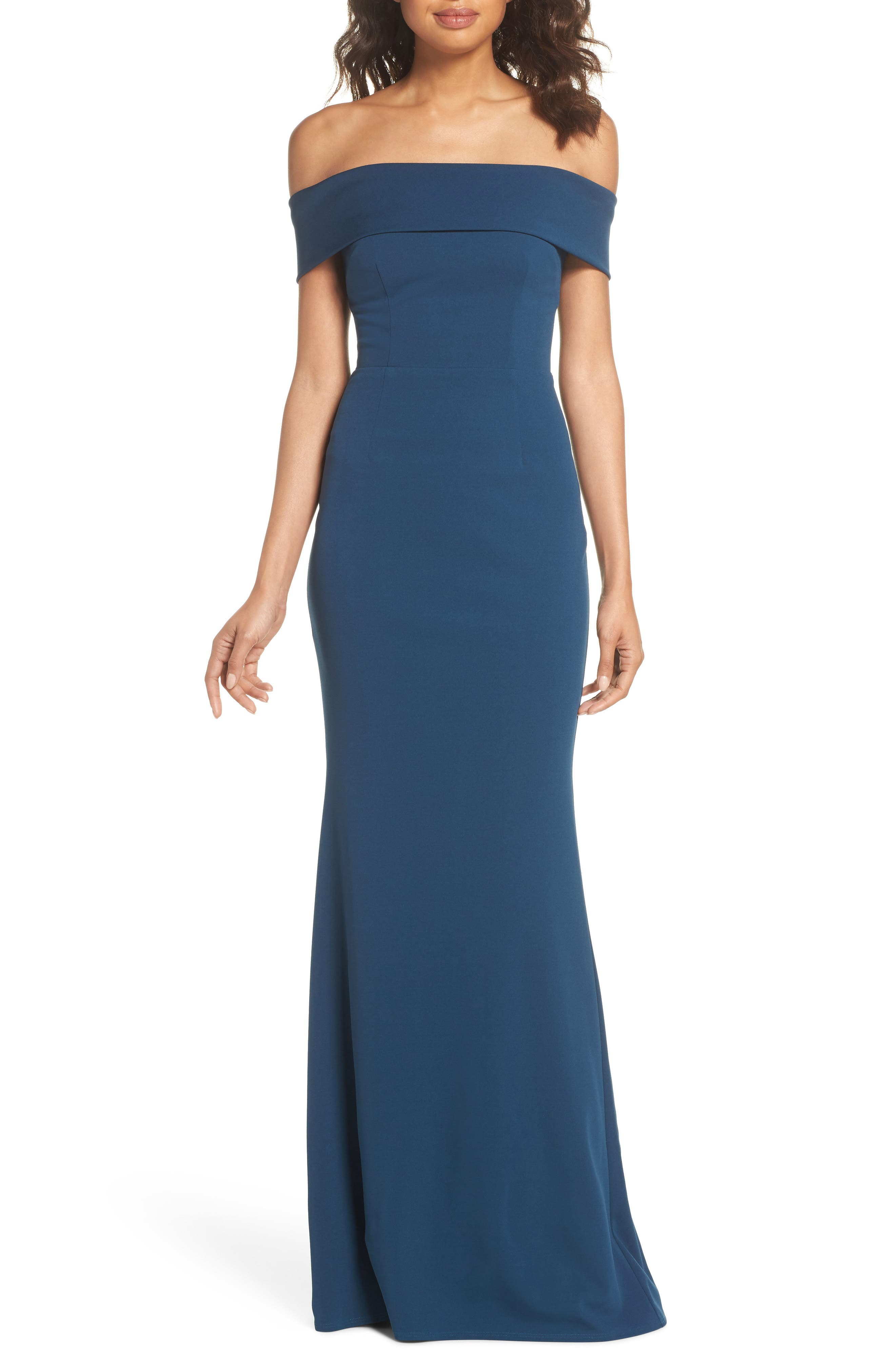 Legacy Crepe Body-Con Gown,                             Main thumbnail 1, color,                             TEAL