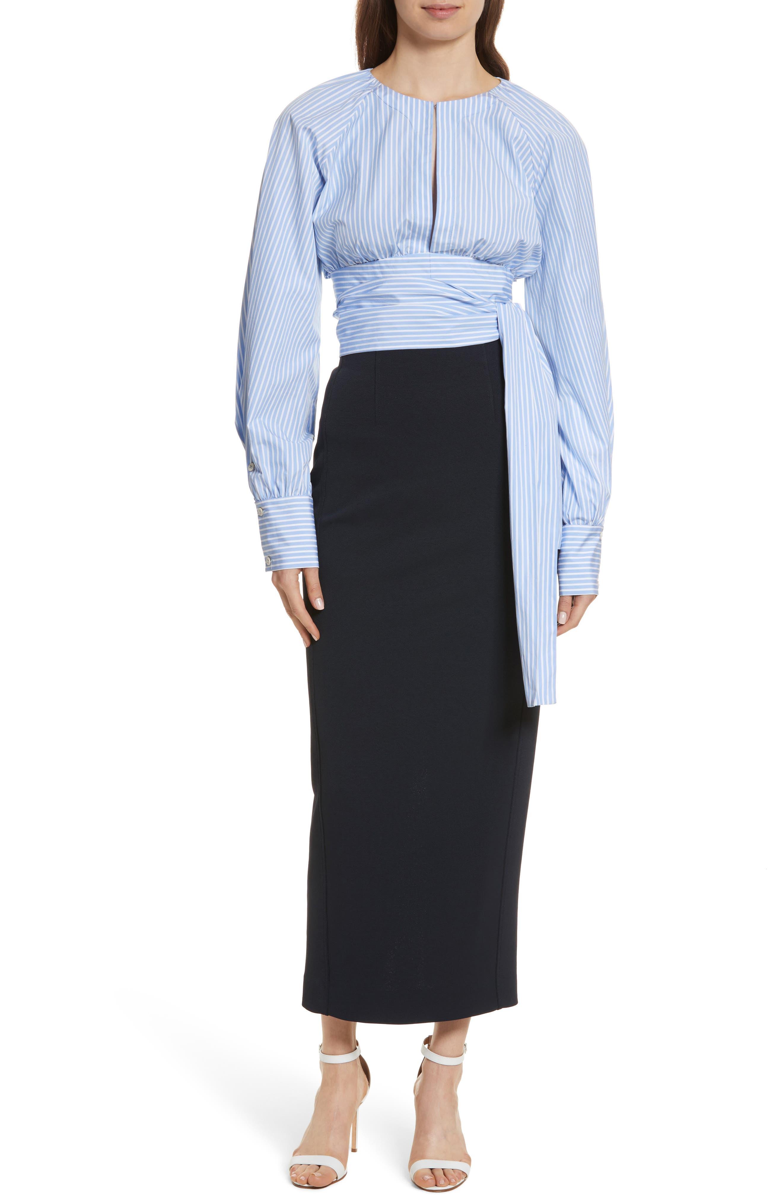 Diane von Furstenberg Keyhole Crop Cotton Blouse,                             Alternate thumbnail 7, color,