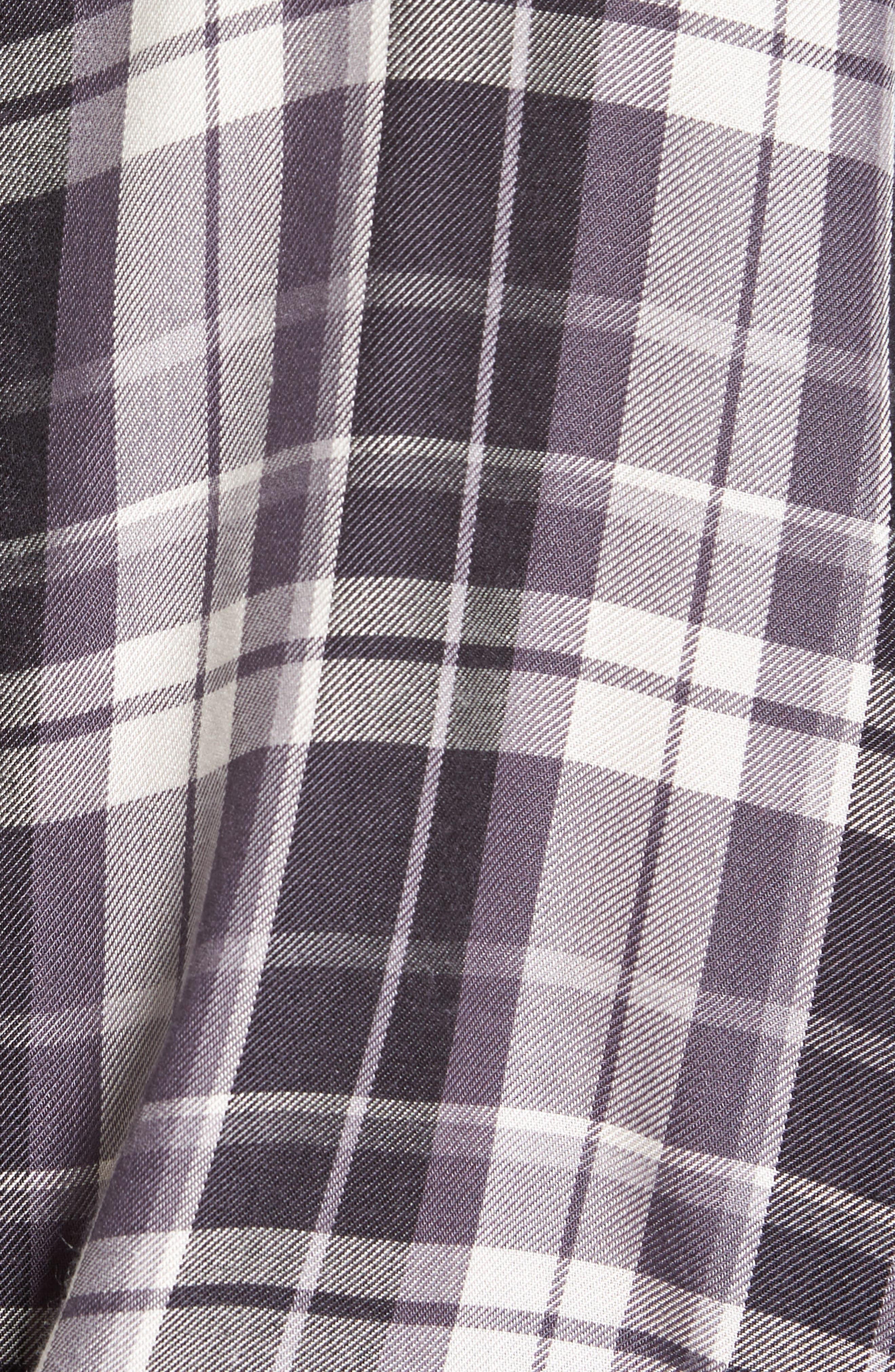 Tie Front Plaid Shirt,                             Alternate thumbnail 5, color,                             021