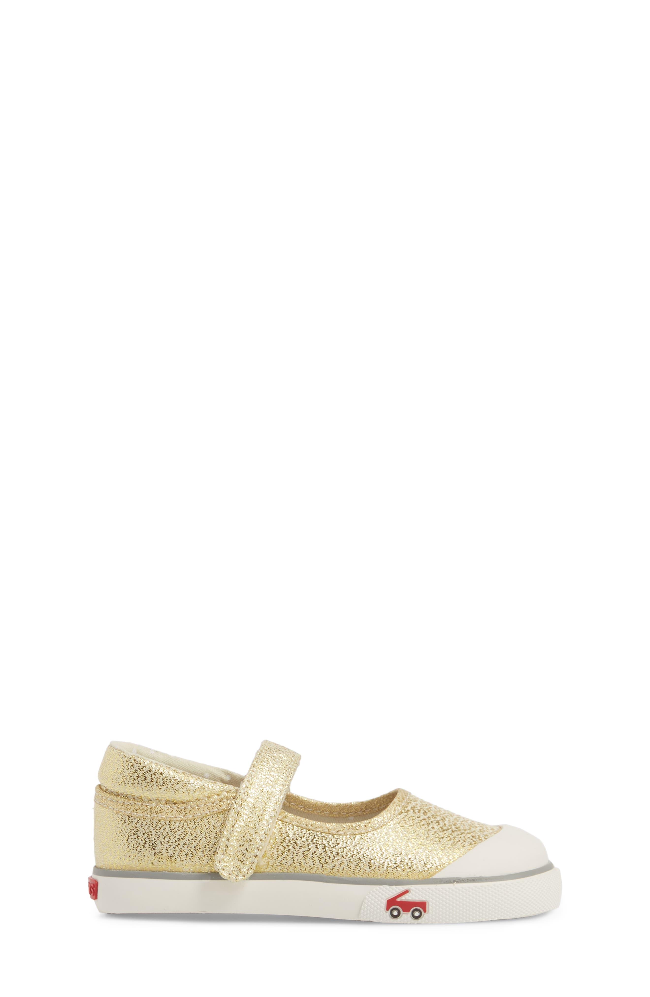 'Marie' Mary Jane Sneaker,                             Alternate thumbnail 3, color,                             METALLIC GOLD